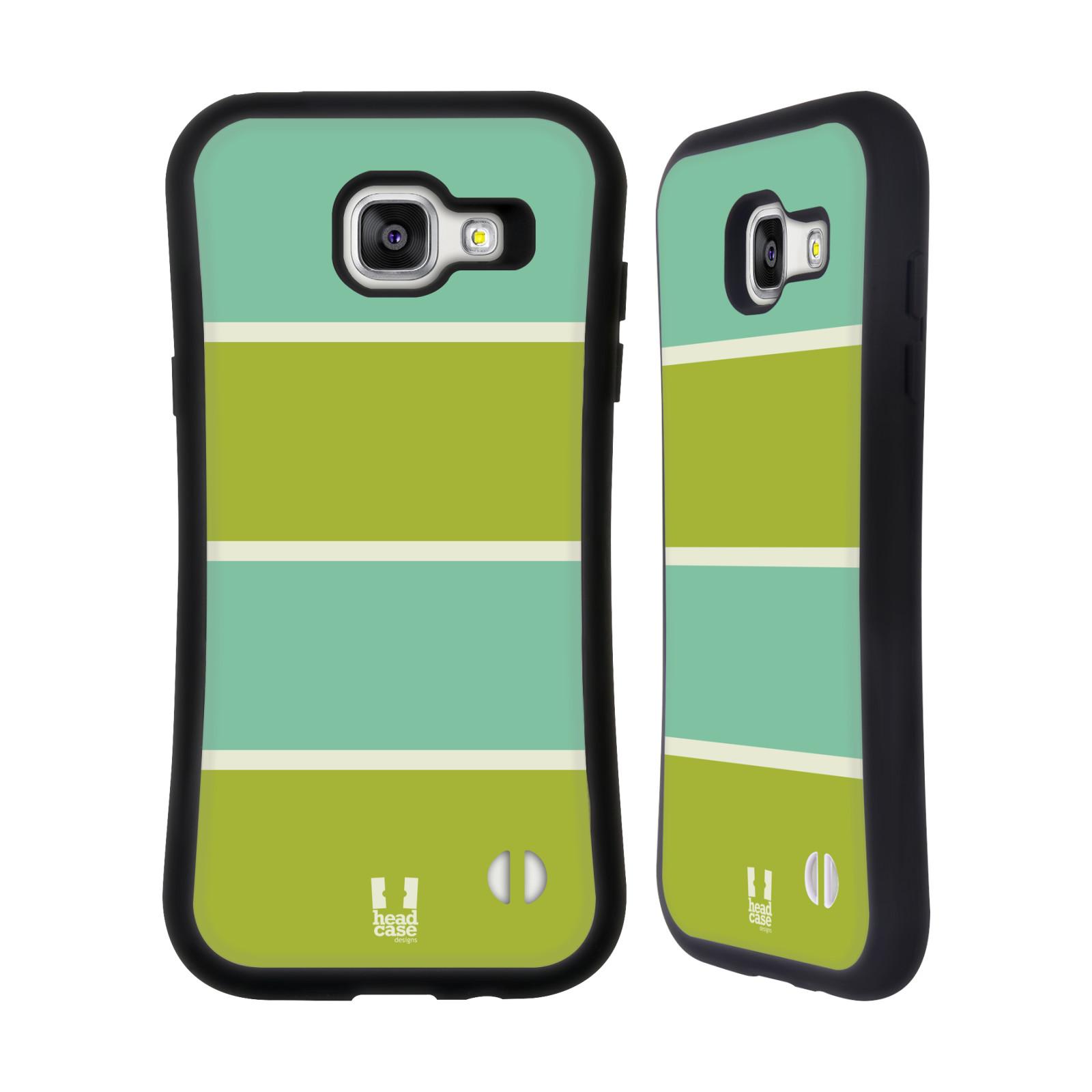 HEAD CASE silikon/plast odolný obal na mobil Samsung Galaxy A5 2016 vzor Barevné proužky ZELENÁ A TYRKYSOVÁ