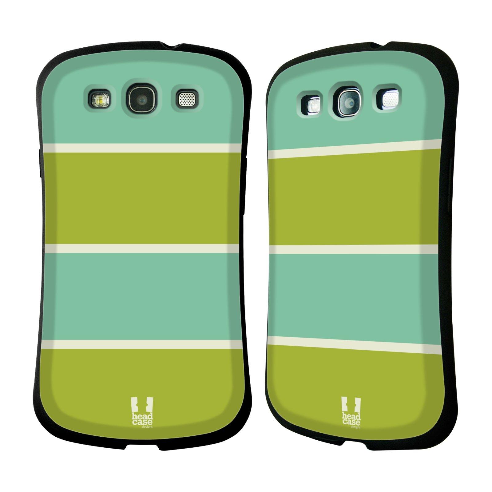 HEAD CASE silikon/plast odolný obal na mobil Samsung Galaxy S3 vzor Barevné proužky ZELENÁ A TYRKYSOVÁ