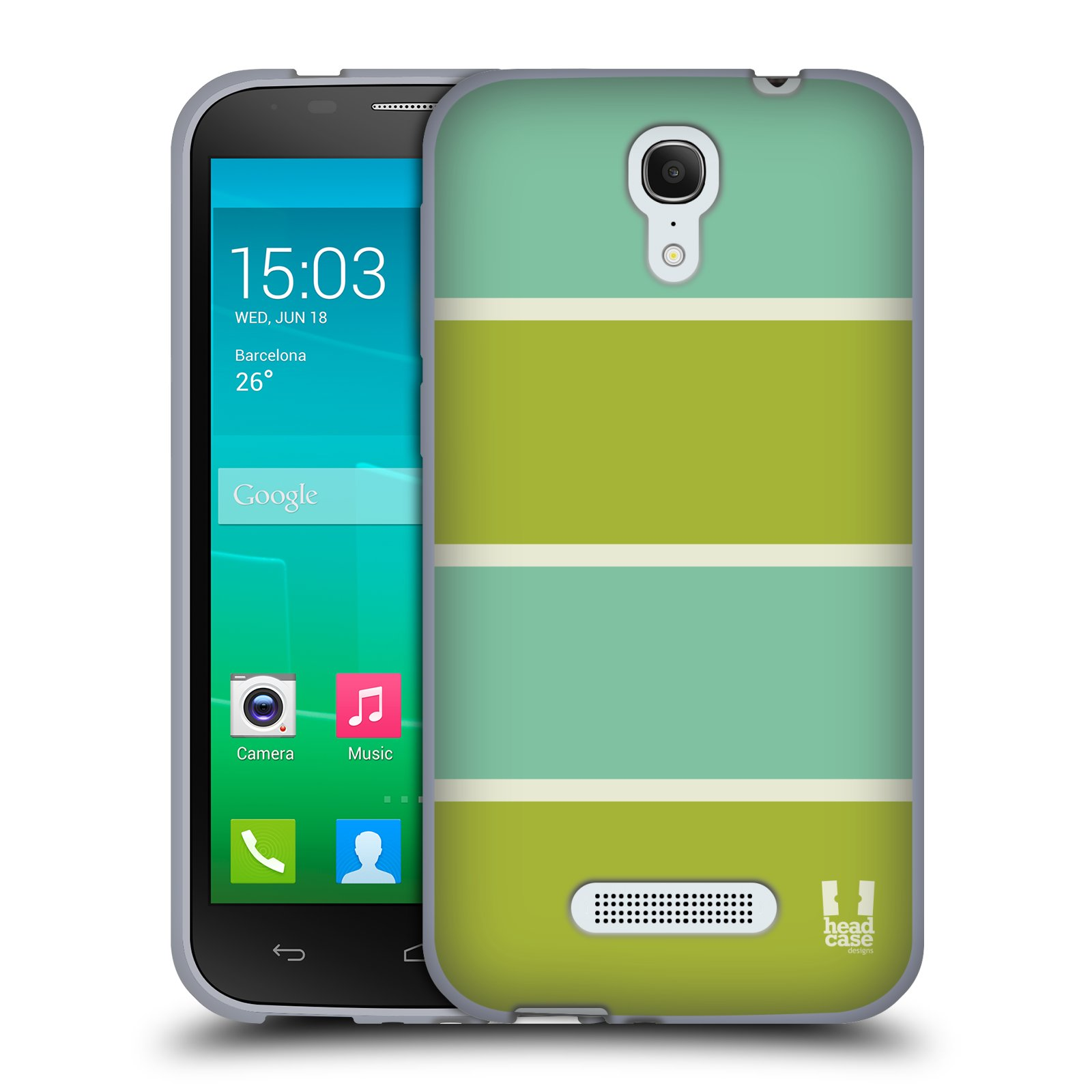 HEAD CASE silikonový obal na mobil Alcatel POP S7 vzor Barevné proužky ZELENÁ A TYRKYSOVÁ