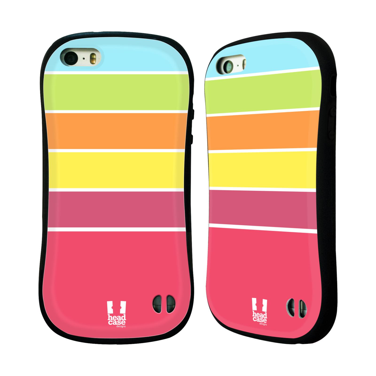 HEAD CASE silikon/plast odolný obal na mobil Apple Iphone 5/5S vzor Barevné proužky RŮŽOVÁ, ORANŽOVÁ, ZELENÁ