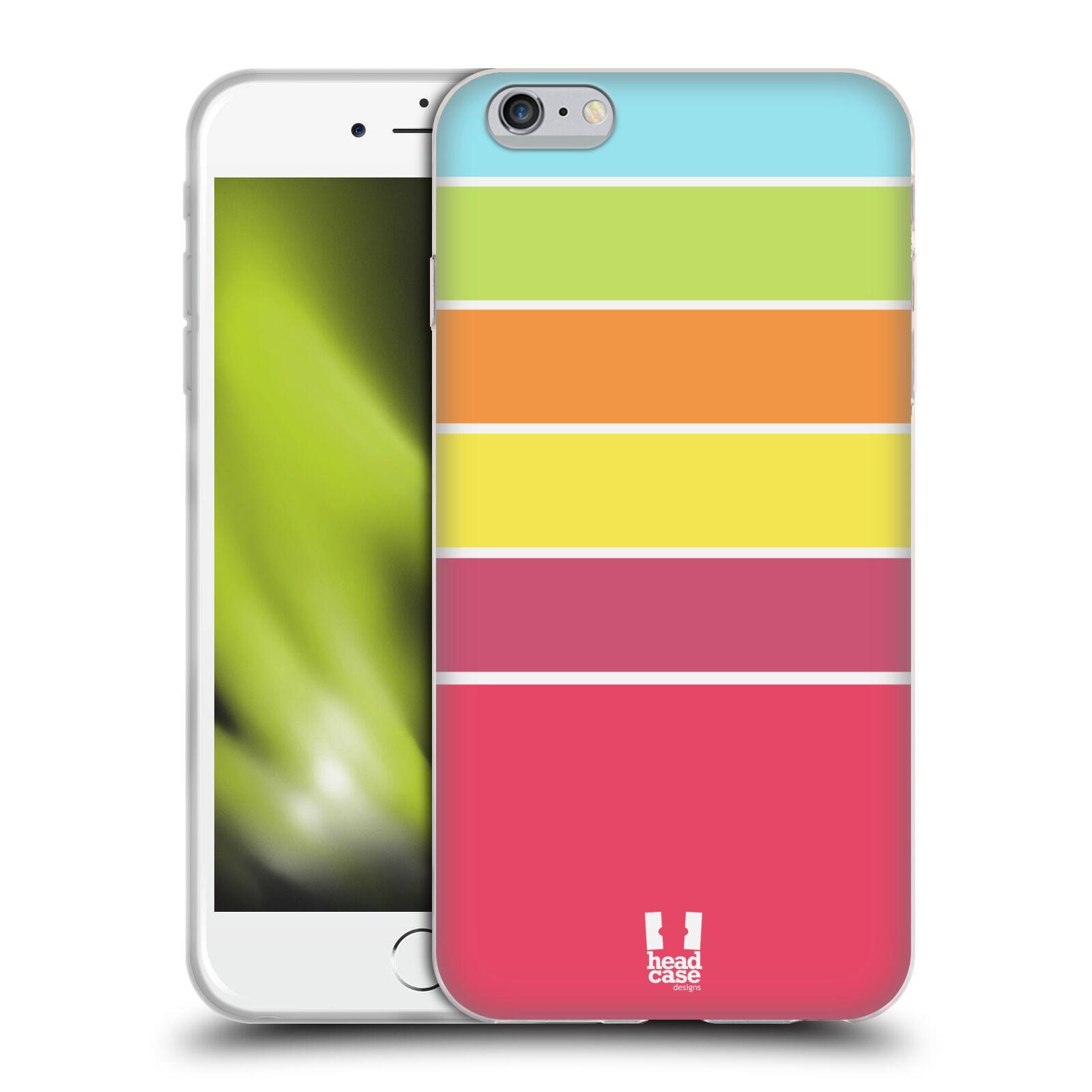 HEAD CASE silikonový obal na mobil Apple Iphone 6 PLUS/ 6S PLUS vzor Barevné proužky RŮŽOVÁ, ORANŽOVÁ, ZELENÁ