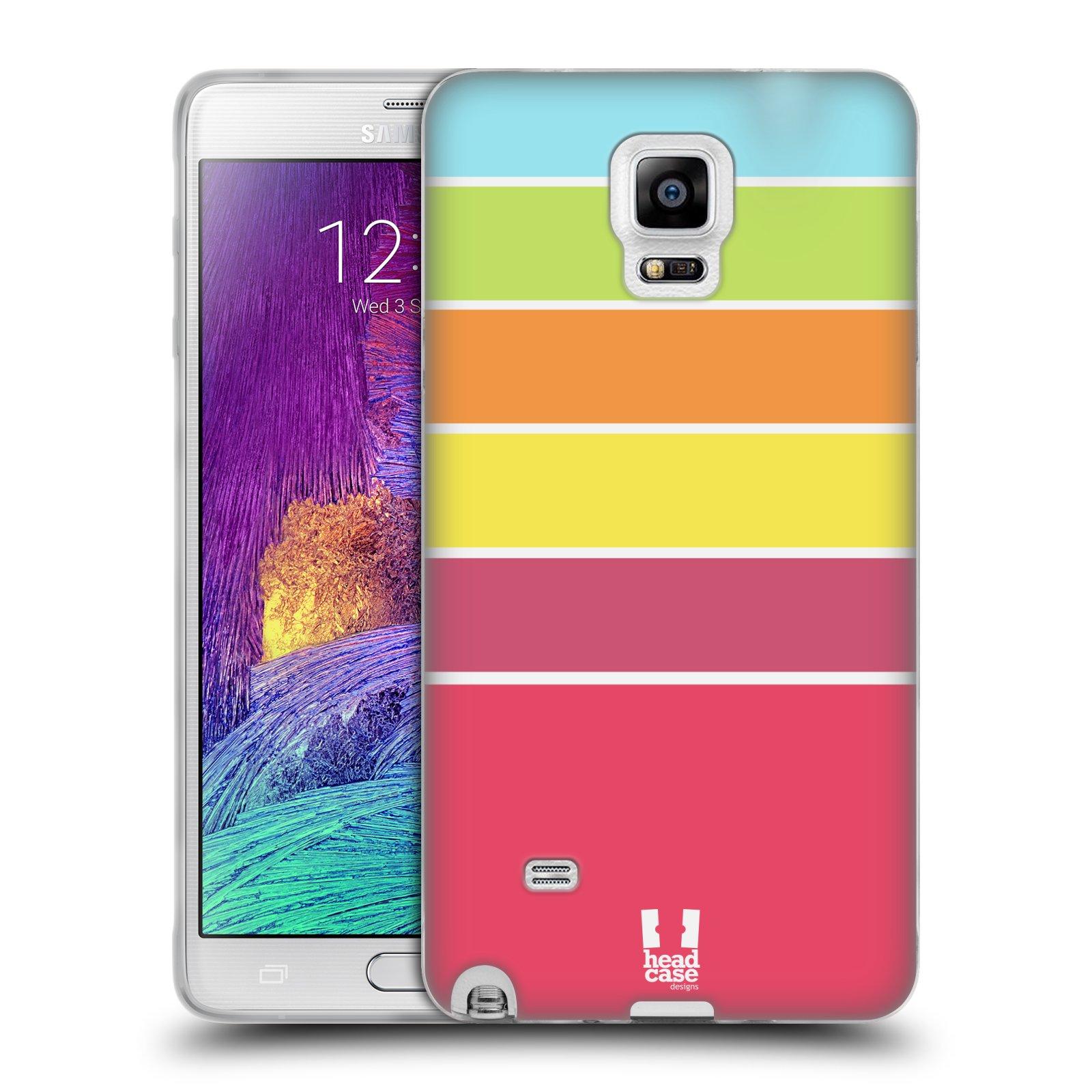 HEAD CASE silikonový obal na mobil Samsung Galaxy Note 4 (N910) vzor Barevné proužky RŮŽOVÁ, ORANŽOVÁ, ZELENÁ