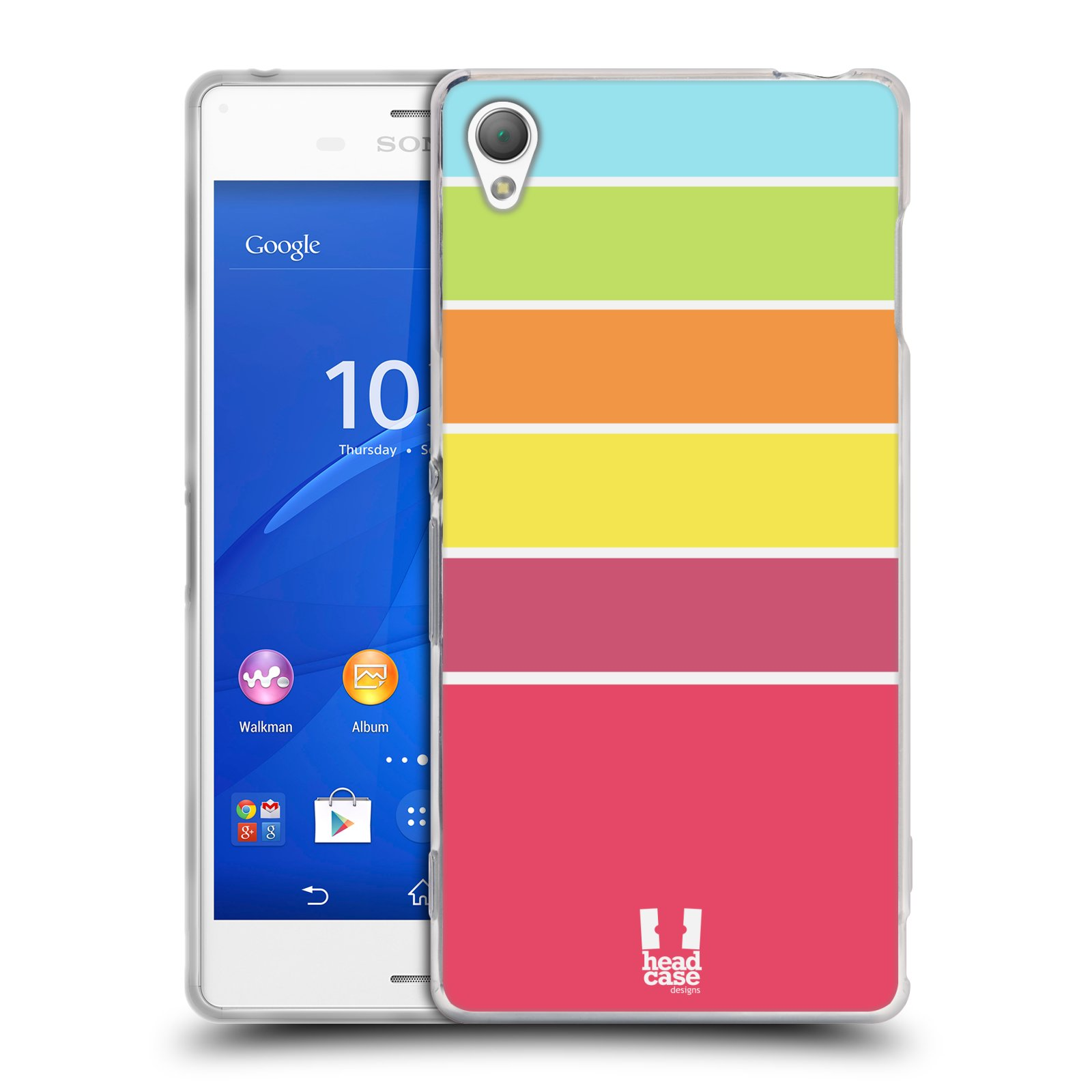HEAD CASE silikonový obal na mobil Sony Xperia Z3 vzor Barevné proužky RŮŽOVÁ, ORANŽOVÁ, ZELENÁ