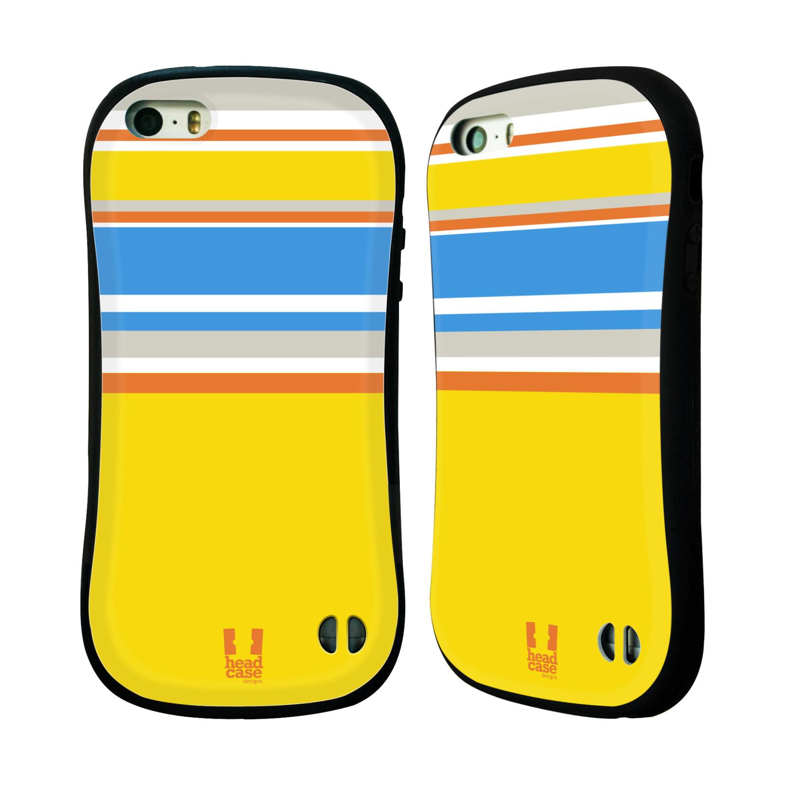 HEAD CASE silikon/plast odolný obal na mobil Apple Iphone 5/5S vzor Barevné proužky ŽLUTÁ A MODRÁ