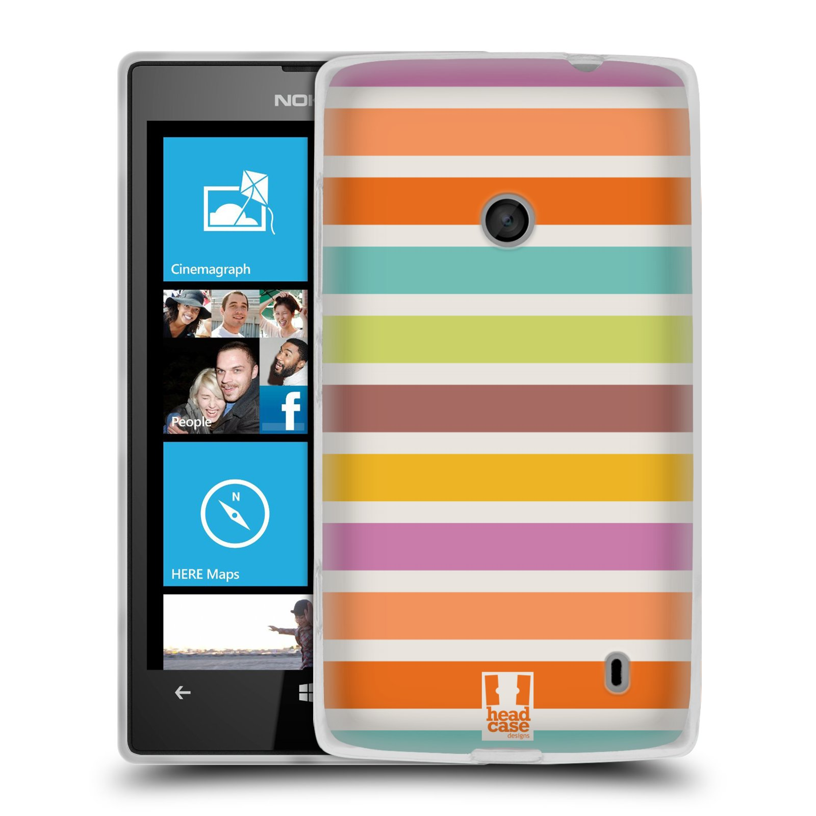 HEAD CASE STRIPES COLLECTION 2 SILICONE GEL CASE FOR NOKIA LUMIA 520