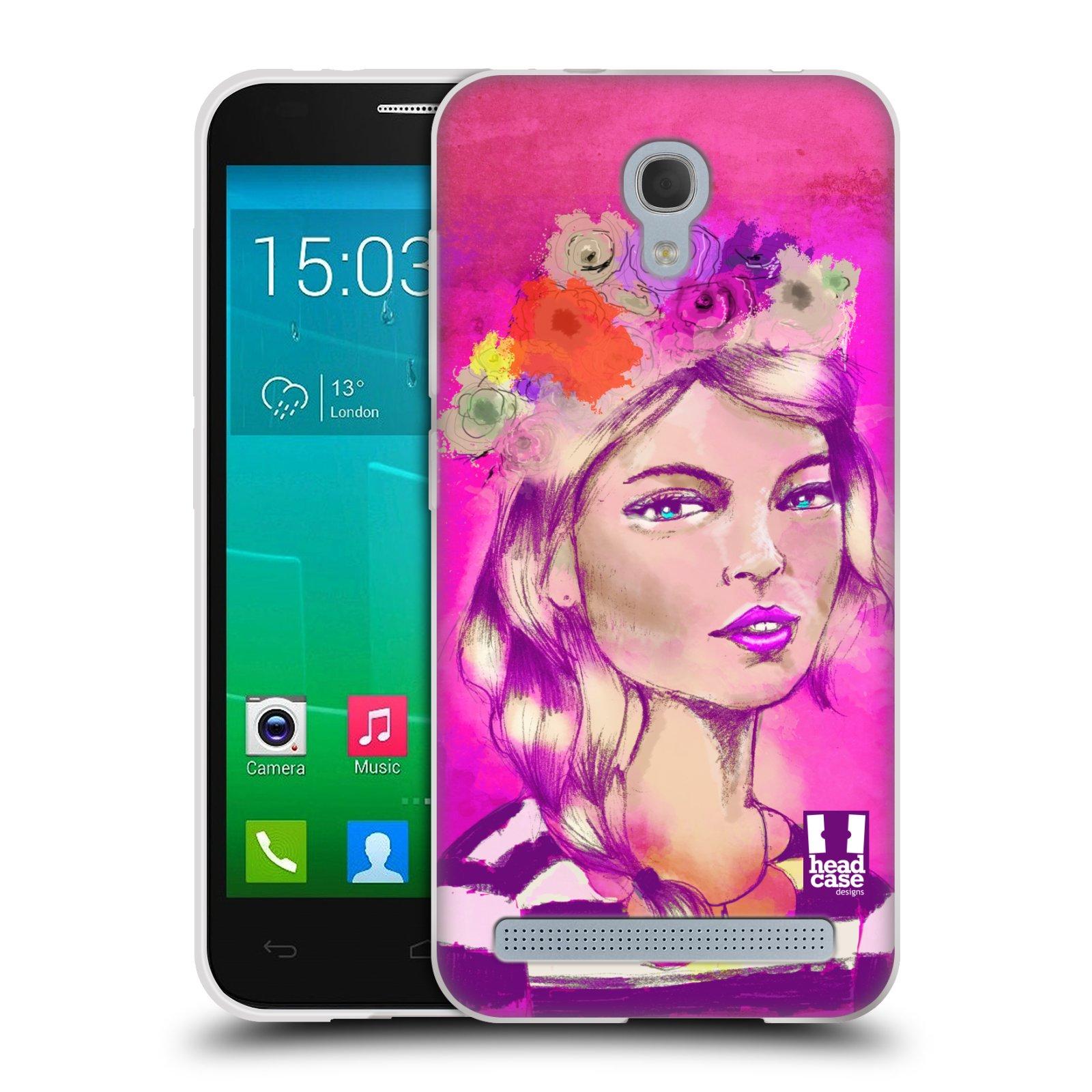 HEAD CASE silikonový obal na mobil Alcatel Idol 2 MINI S 6036Y vzor Dívka dlouhé květinové vlasy OKOUZLUJÍCÍ