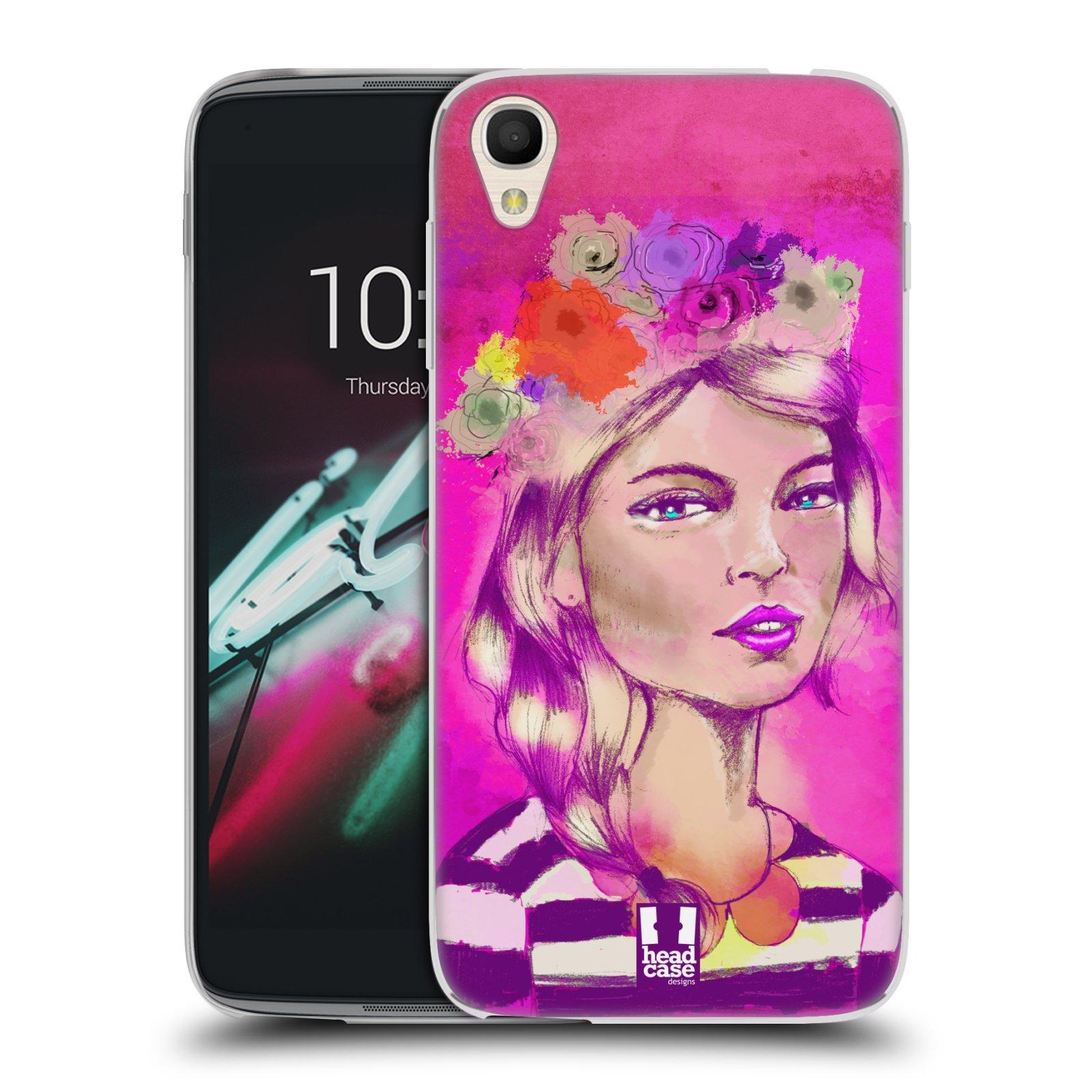 HEAD CASE silikonový obal na mobil Alcatel Idol 3 OT-6039Y (4.7) vzor Dívka dlouhé květinové vlasy OKOUZLUJÍCÍ