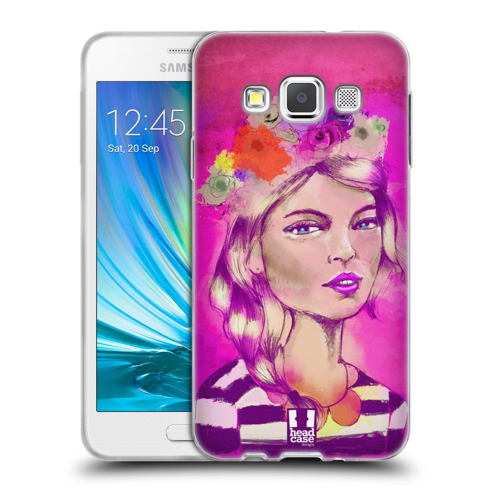 HEAD CASE silikonový obal na mobil Samsung Galaxy A3 vzor Dívka dlouhé květinové vlasy OKOUZLUJÍCÍ