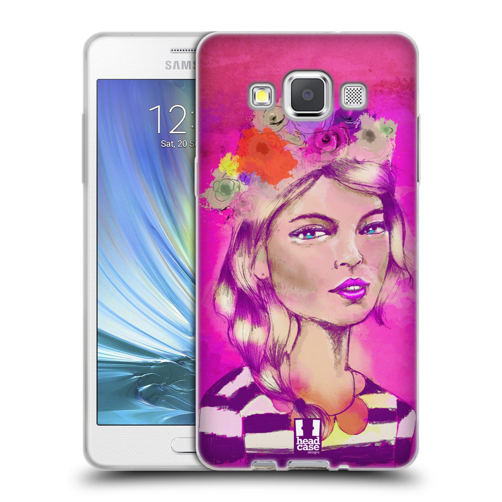 HEAD CASE silikonový obal na mobil Samsung Galaxy A5 vzor Dívka dlouhé květinové vlasy OKOUZLUJÍCÍ