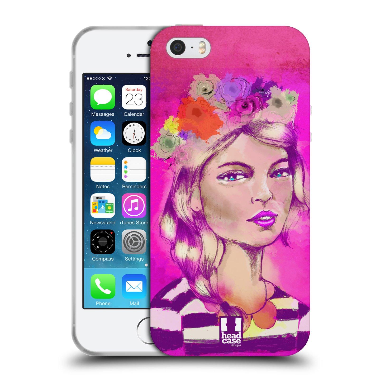 HEAD CASE silikonový obal na mobil Apple Iphone 5/5S vzor Dívka dlouhé květinové vlasy OKOUZLUJÍCÍ