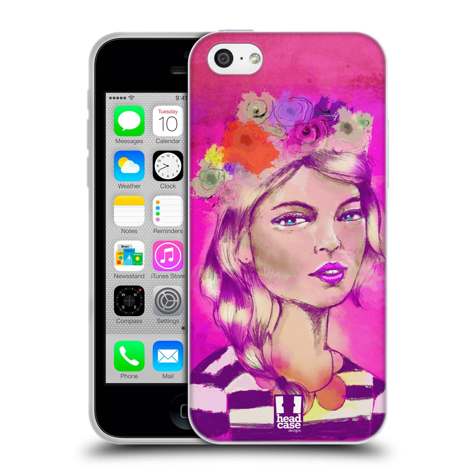 HEAD CASE silikonový obal na mobil Apple Iphone 5C vzor Dívka dlouhé květinové vlasy OKOUZLUJÍCÍ