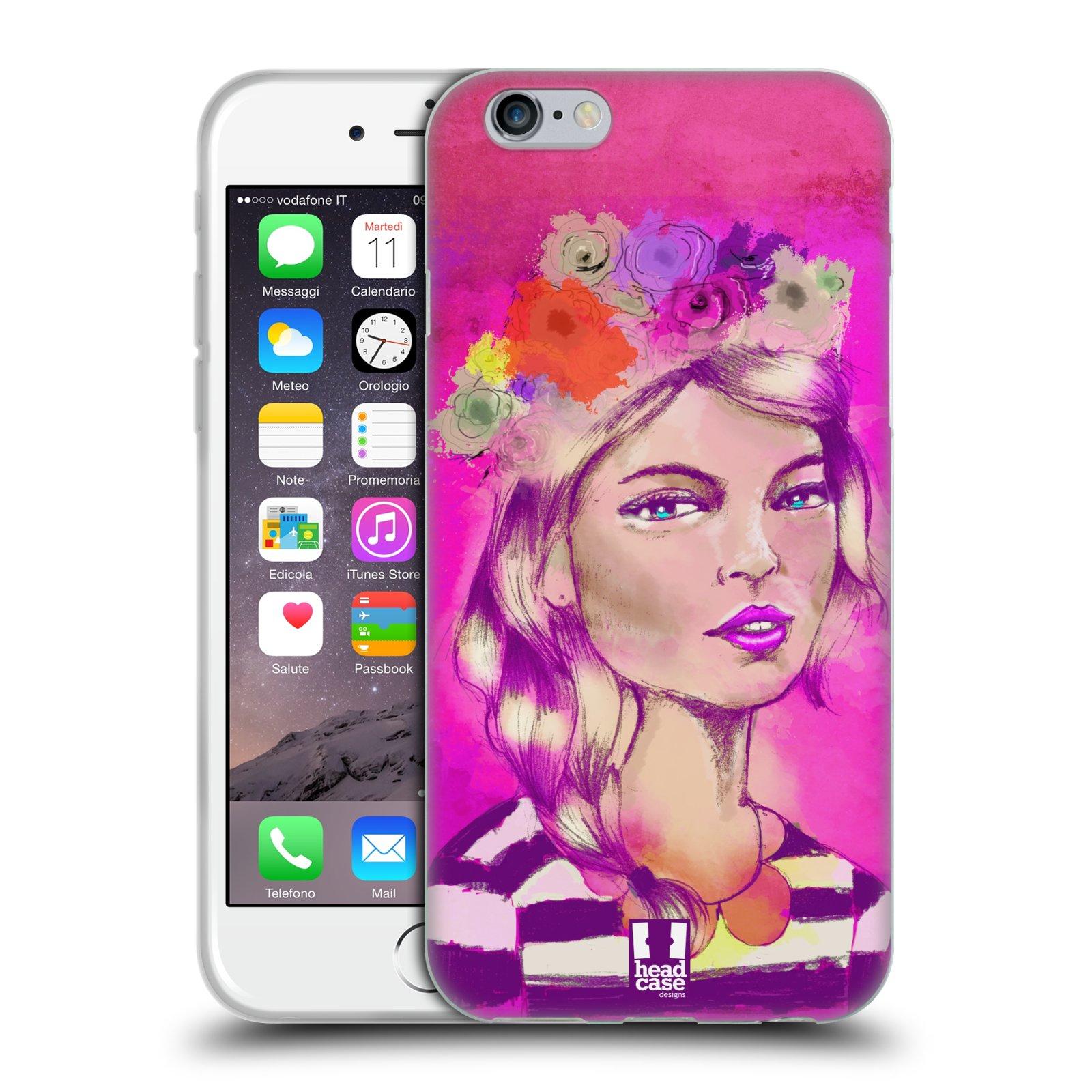 HEAD CASE silikonový obal na mobil Apple Iphone 6/6S vzor Dívka dlouhé květinové vlasy OKOUZLUJÍCÍ