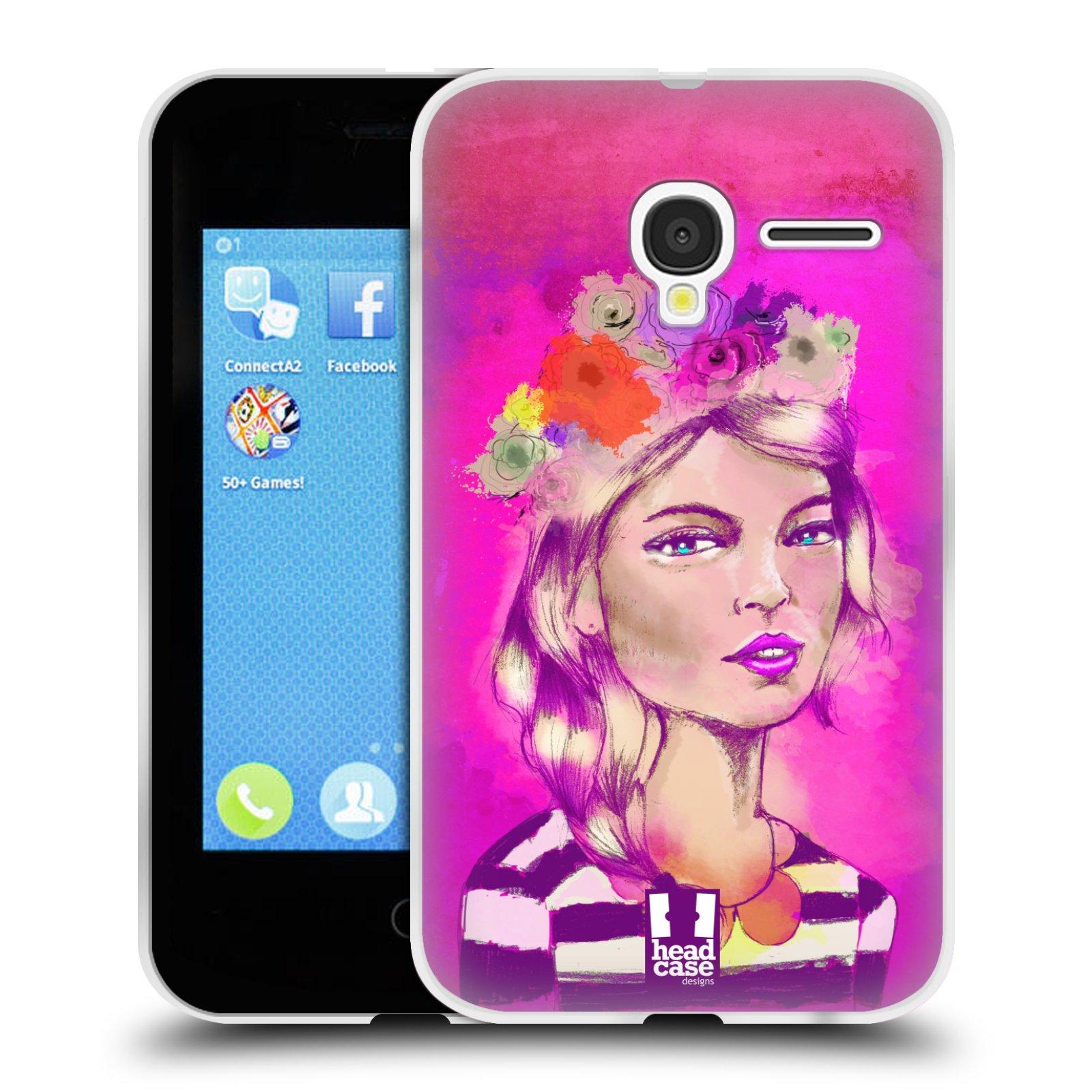 HEAD CASE silikonový obal na mobil Alcatel PIXI 3 OT-4022D (3,5 palcový displej) vzor Dívka dlouhé květinové vlasy OKOUZLUJÍCÍ
