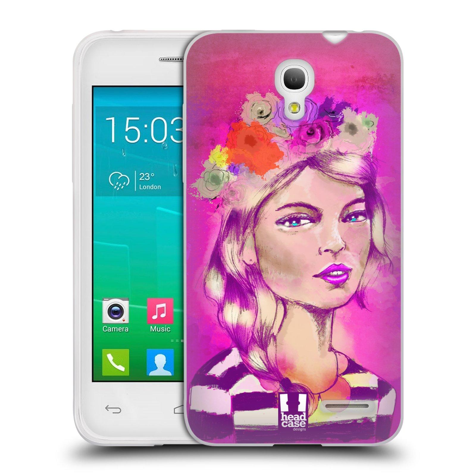 HEAD CASE silikonový obal na mobil Alcatel POP S3 OT-5050Y vzor Dívka dlouhé květinové vlasy OKOUZLUJÍCÍ