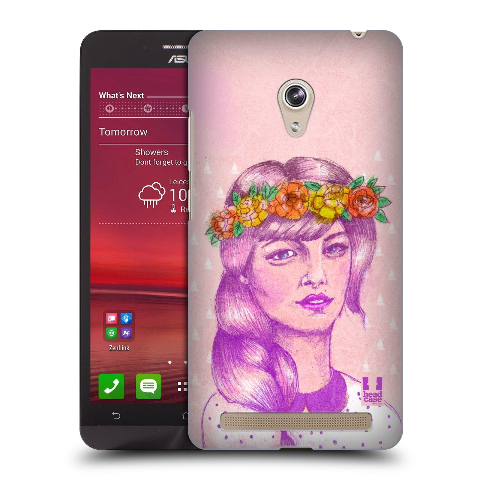 HEAD CASE plastový obal na mobil Asus Zenfone 6 vzor Dívka dlouhé květinové vlasy KRÁSA