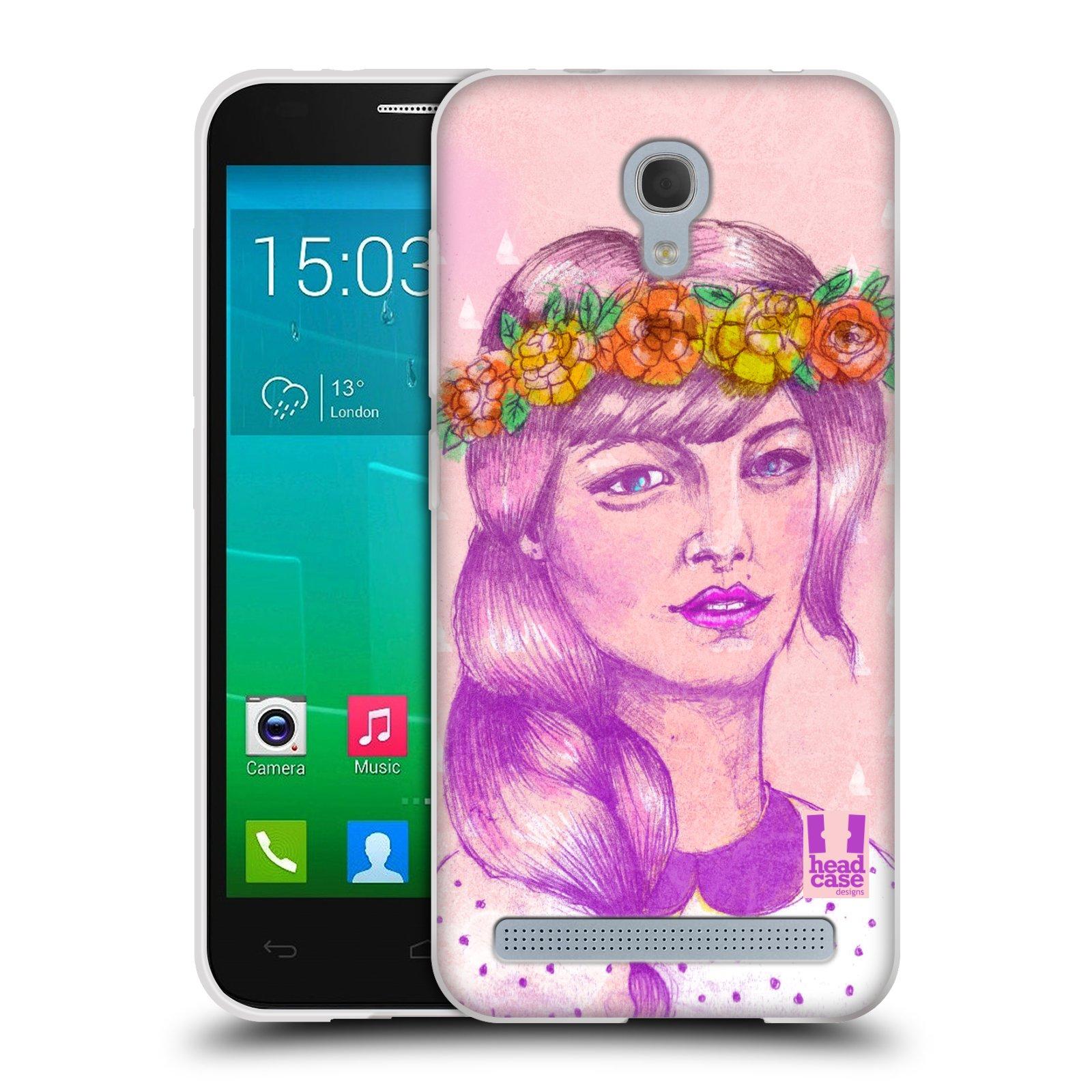 HEAD CASE silikonový obal na mobil Alcatel Idol 2 MINI S 6036Y vzor Dívka dlouhé květinové vlasy KRÁSA