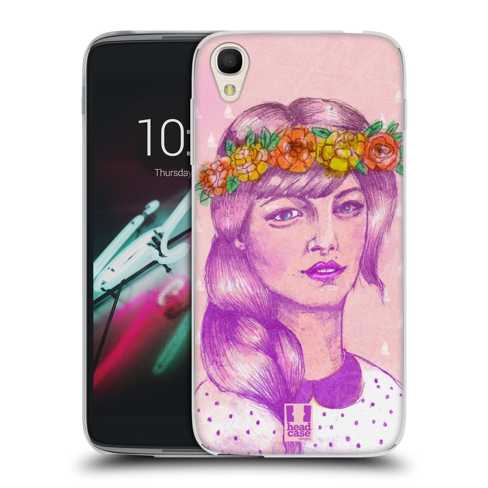 HEAD CASE silikonový obal na mobil Alcatel Idol 3 OT-6039Y (4.7) vzor Dívka dlouhé květinové vlasy KRÁSA