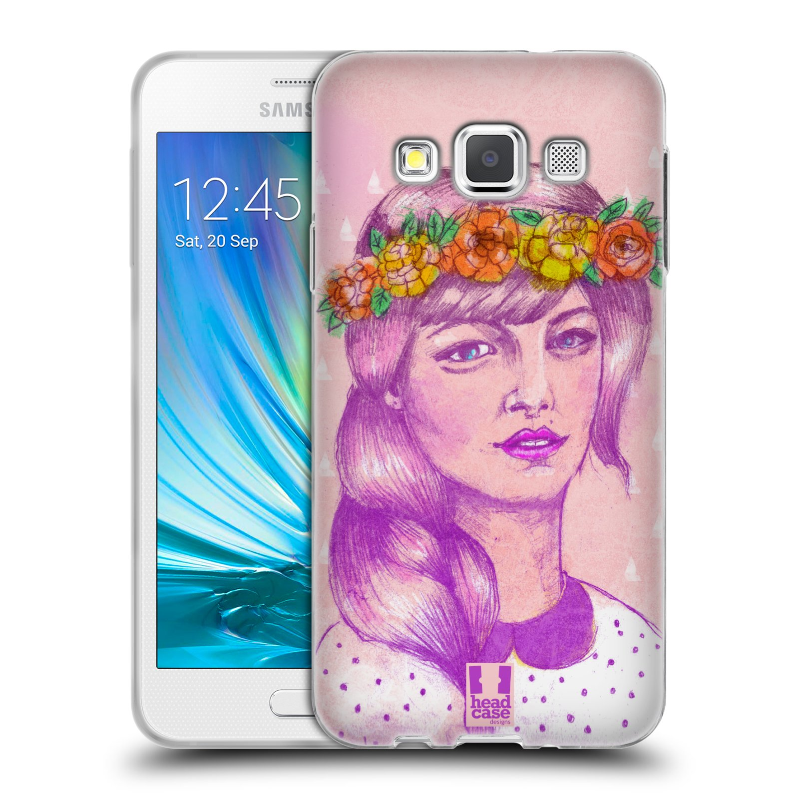 HEAD CASE silikonový obal na mobil Samsung Galaxy A3 vzor Dívka dlouhé květinové vlasy KRÁSA