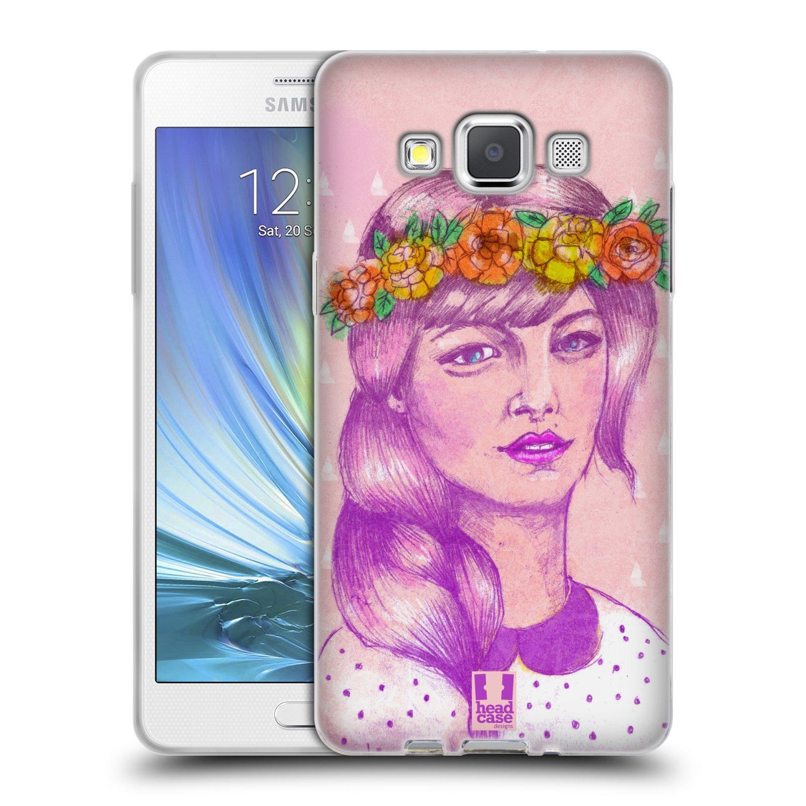 HEAD CASE silikonový obal na mobil Samsung Galaxy A5 vzor Dívka dlouhé květinové vlasy KRÁSA
