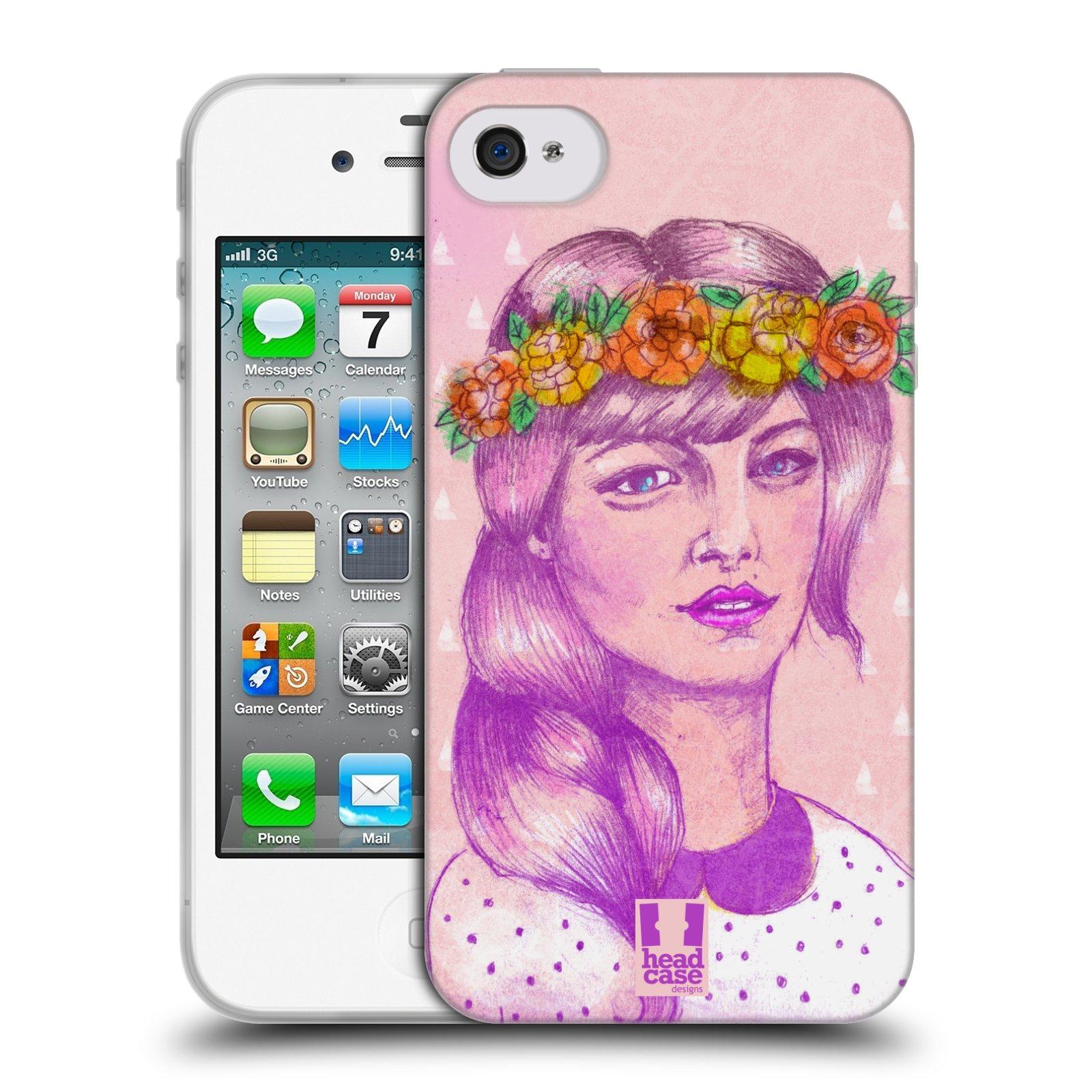 HEAD CASE silikonový obal na mobil Apple Iphone 4/4S vzor Dívka dlouhé květinové vlasy KRÁSA