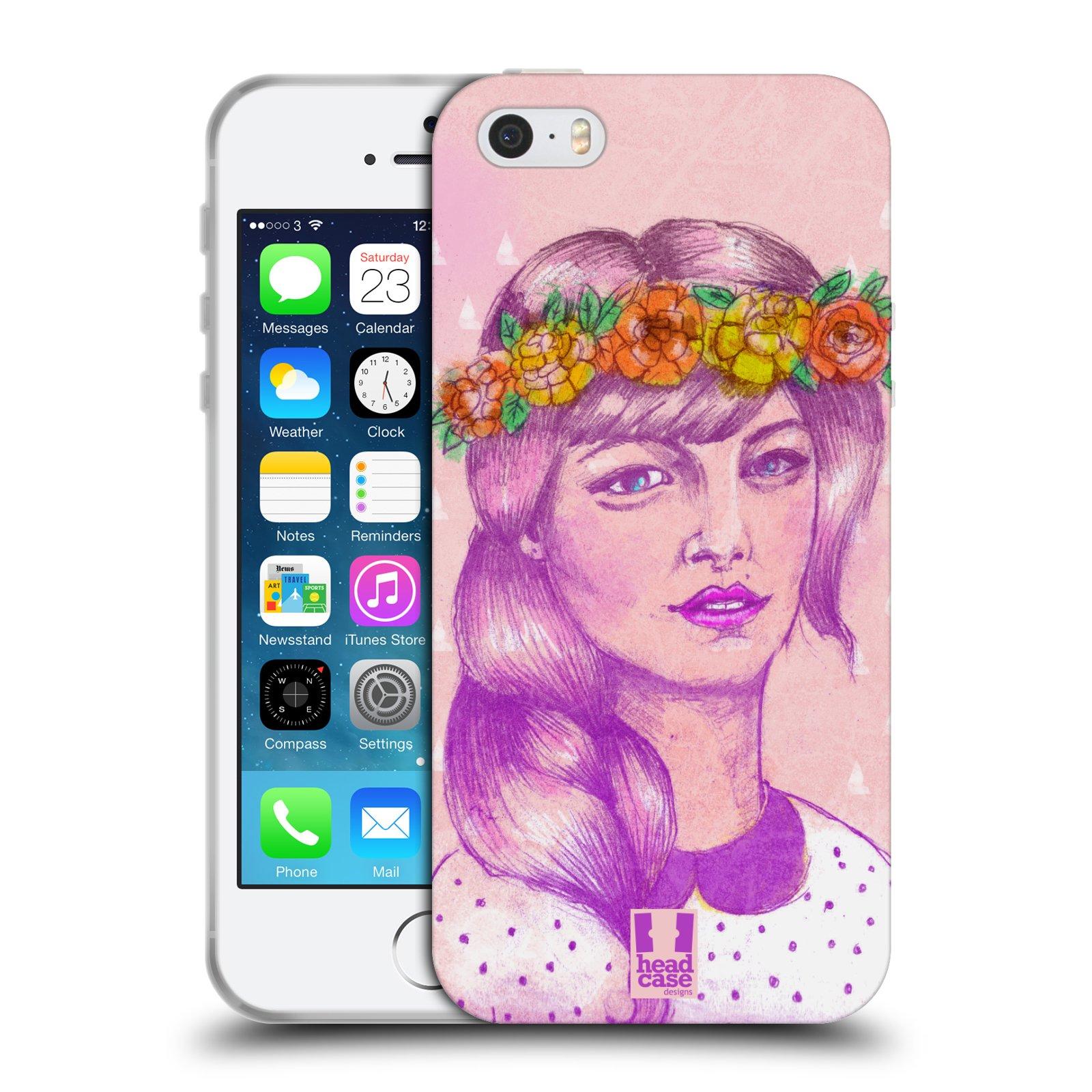 HEAD CASE silikonový obal na mobil Apple Iphone 5/5S vzor Dívka dlouhé květinové vlasy KRÁSA