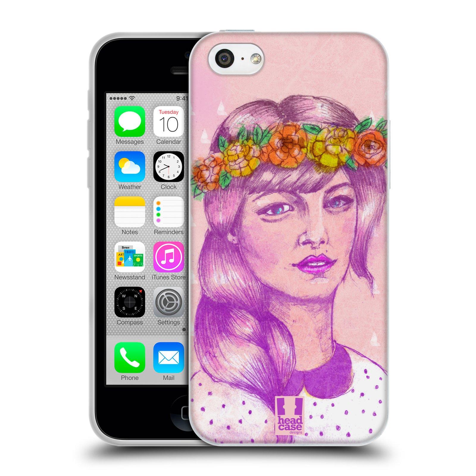 HEAD CASE silikonový obal na mobil Apple Iphone 5C vzor Dívka dlouhé květinové vlasy KRÁSA