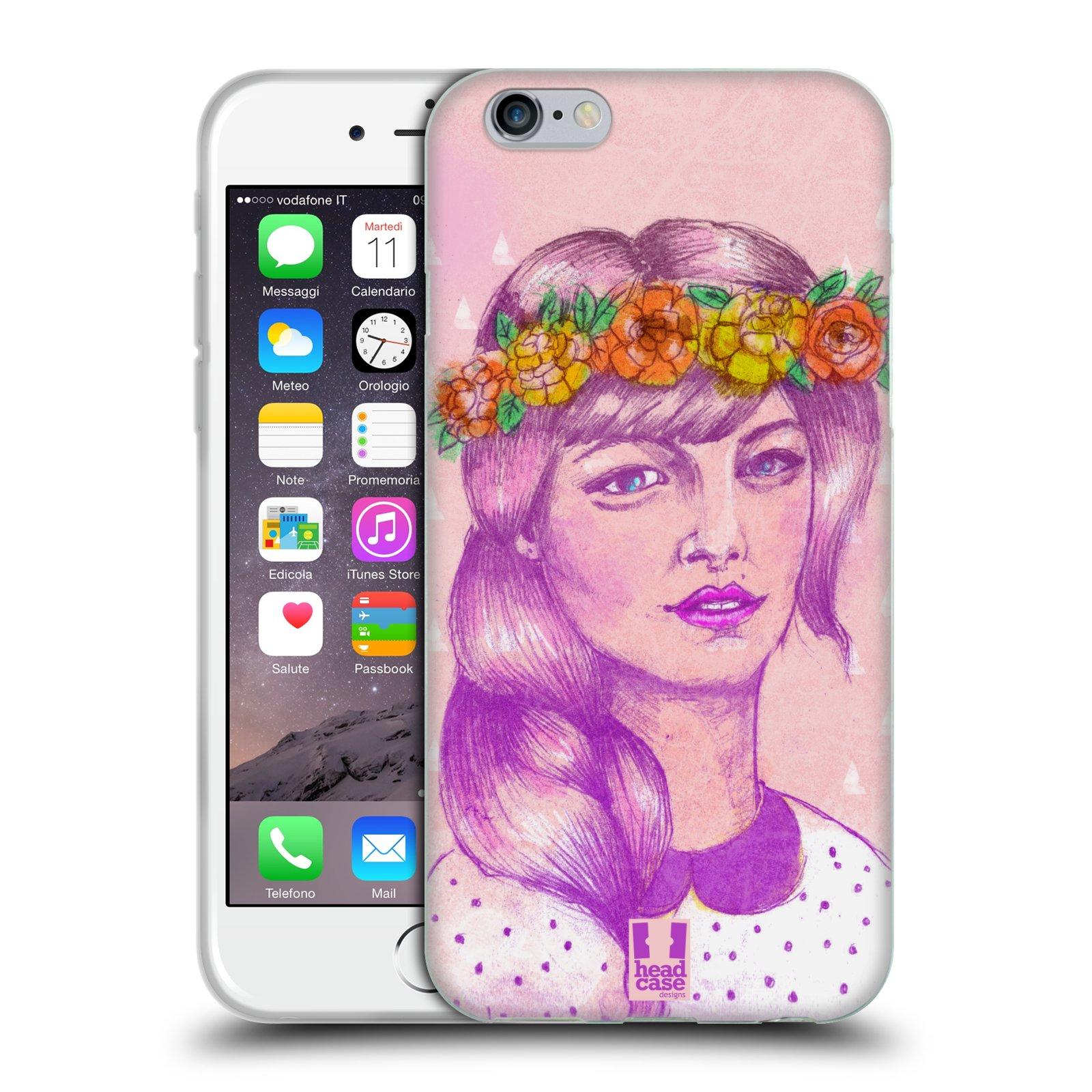 HEAD CASE silikonový obal na mobil Apple Iphone 6/6S vzor Dívka dlouhé květinové vlasy KRÁSA