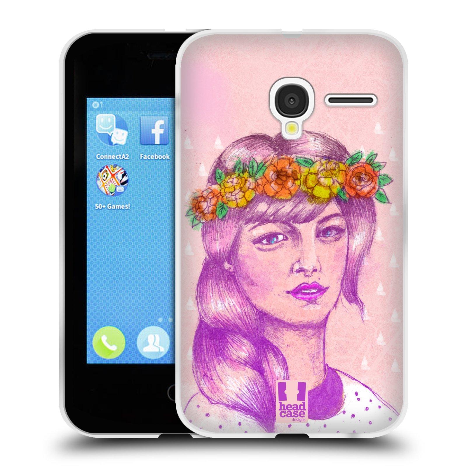 HEAD CASE silikonový obal na mobil Alcatel PIXI 3 OT-4022D (3,5 palcový displej) vzor Dívka dlouhé květinové vlasy KRÁSA