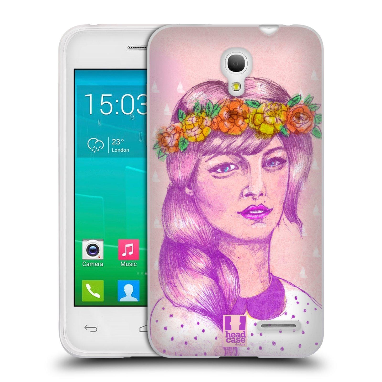 HEAD CASE silikonový obal na mobil Alcatel POP S3 OT-5050Y vzor Dívka dlouhé květinové vlasy KRÁSA