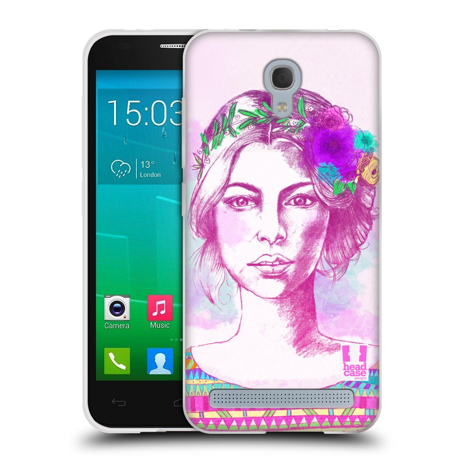 HEAD CASE silikonový obal na mobil Alcatel Idol 2 MINI S 6036Y vzor Dívka krátké vlasy růžová