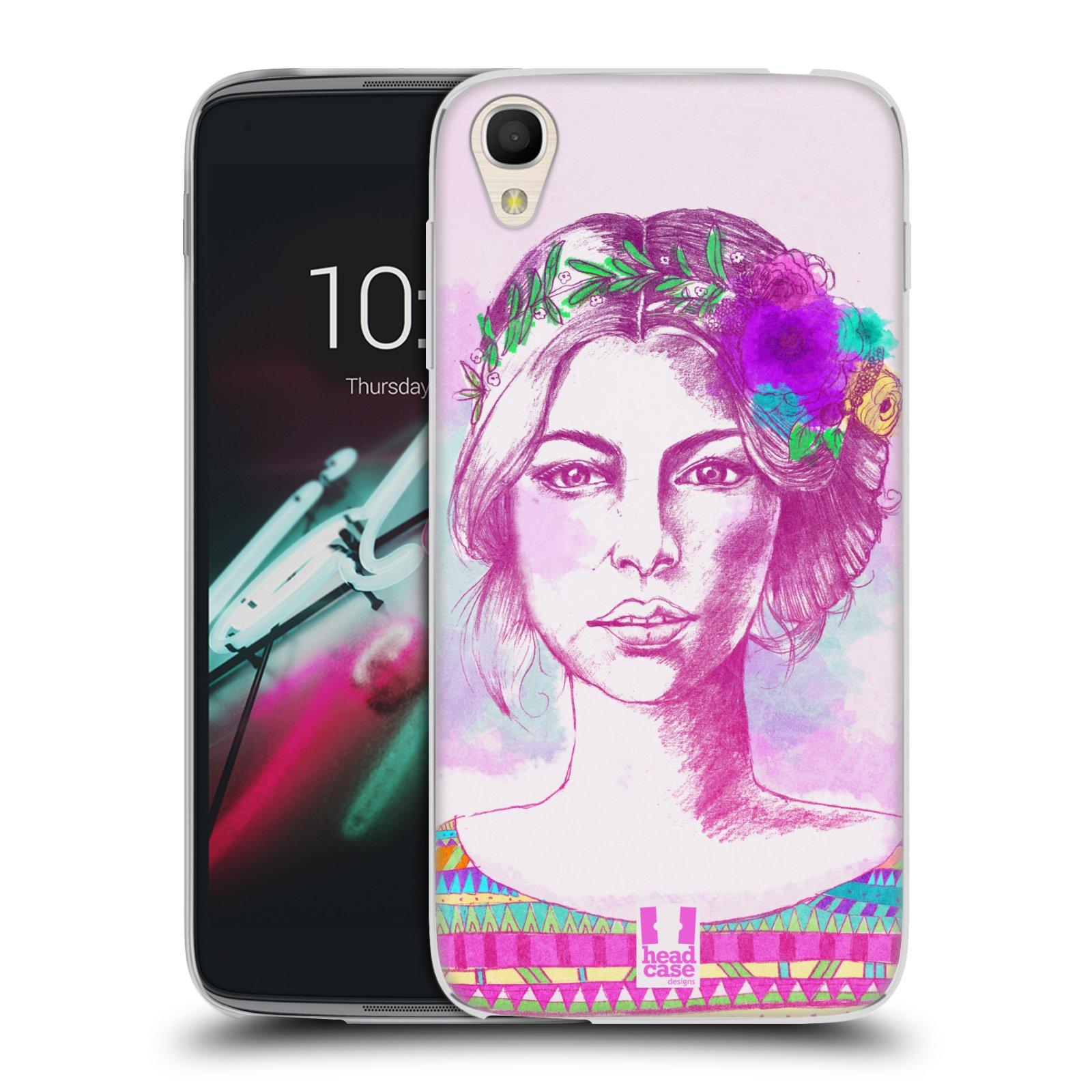 HEAD CASE silikonový obal na mobil Alcatel Idol 3 OT-6039Y (4.7) vzor Dívka krátké vlasy růžová