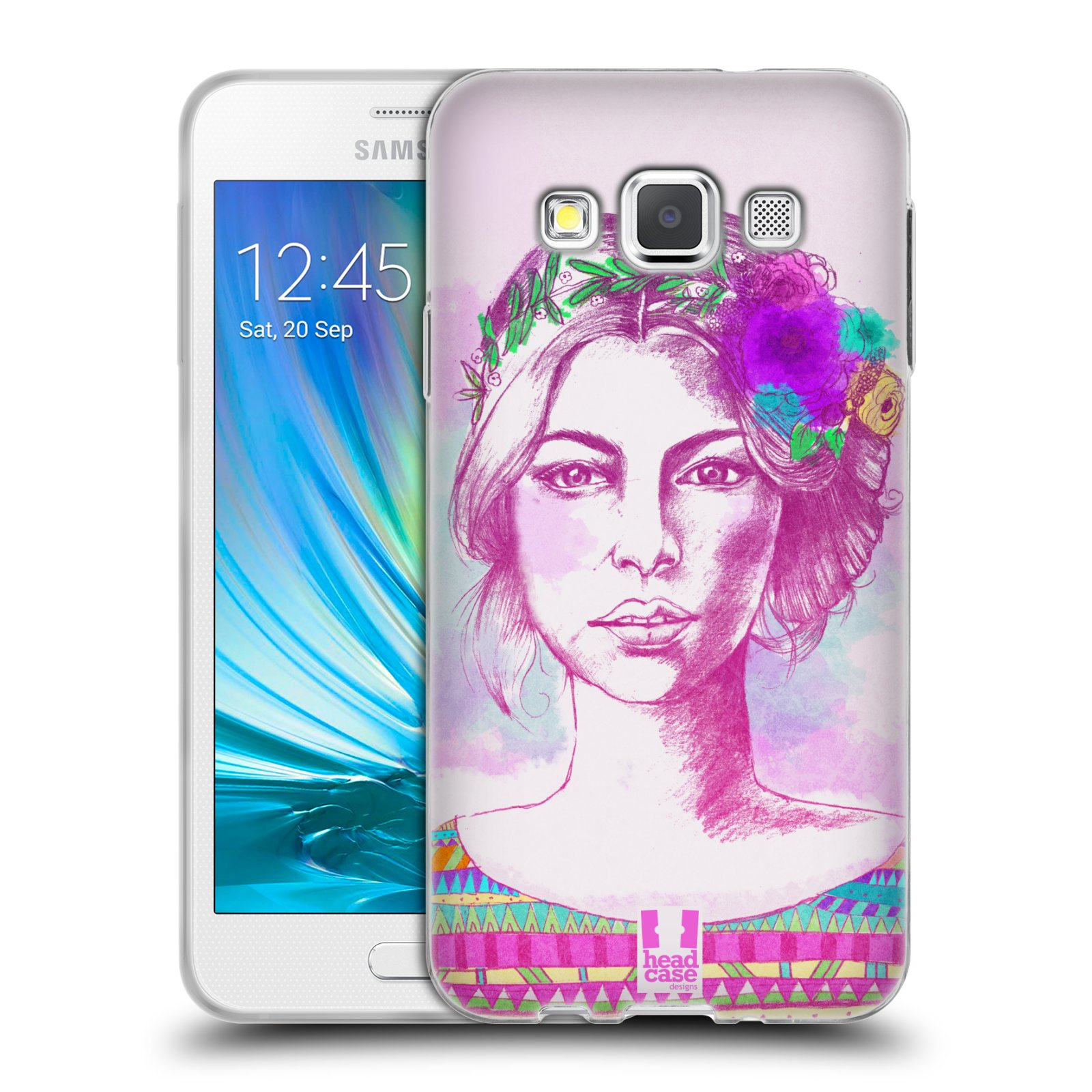 HEAD CASE silikonový obal na mobil Samsung Galaxy A3 vzor Dívka krátké vlasy růžová