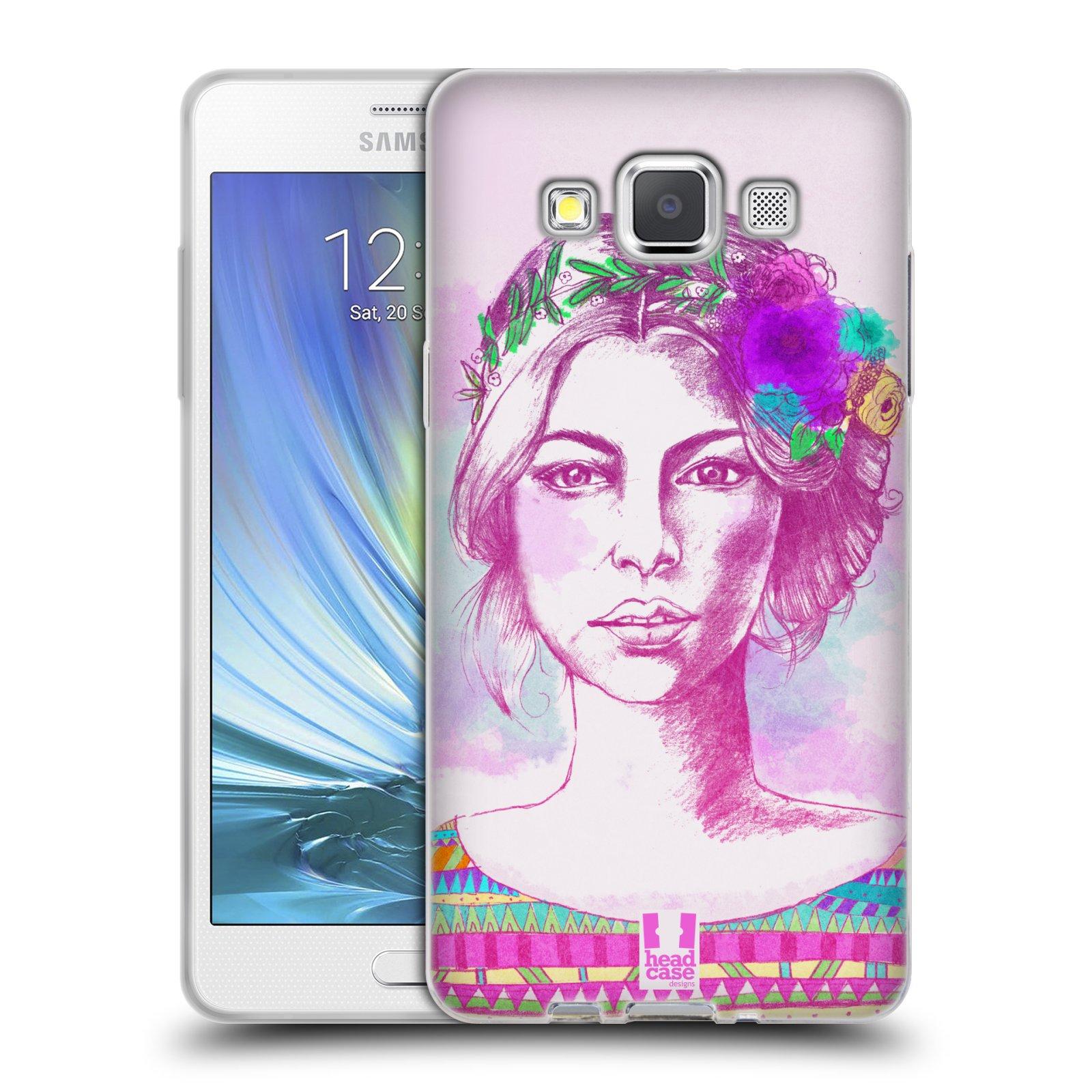 HEAD CASE silikonový obal na mobil Samsung Galaxy A5 vzor Dívka krátké vlasy růžová