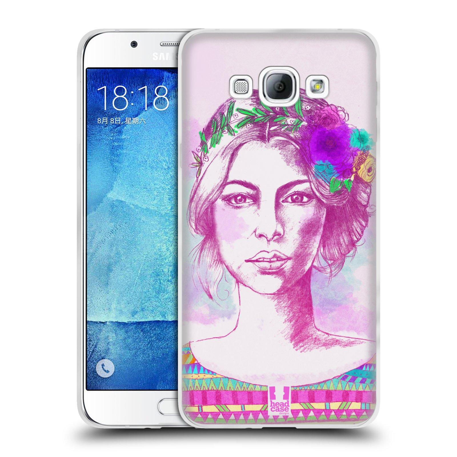 HEAD CASE silikonový obal na mobil Samsung Galaxy A8 vzor Dívka krátké vlasy růžová