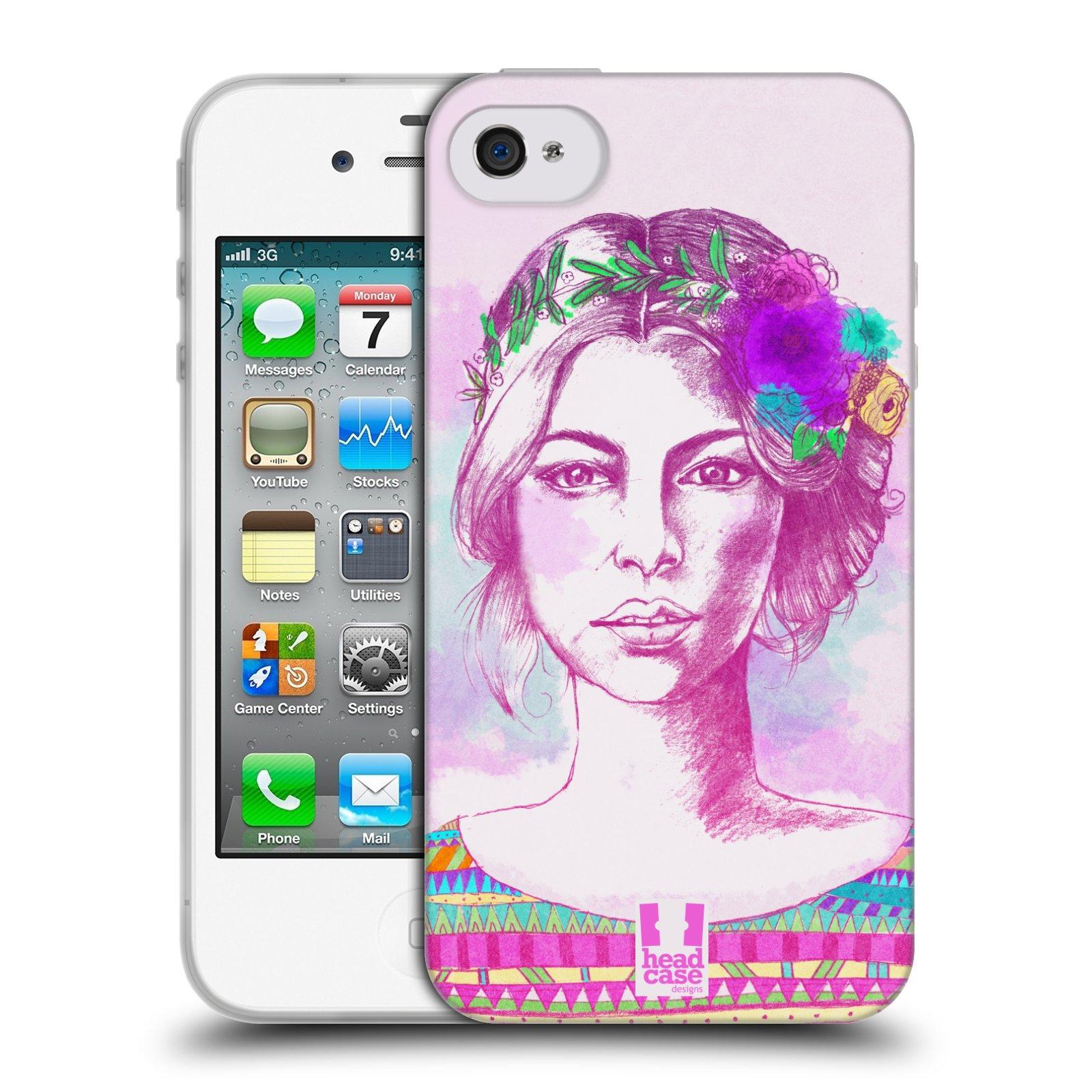 HEAD CASE silikonový obal na mobil Apple Iphone 4/4S vzor Dívka krátké vlasy růžová
