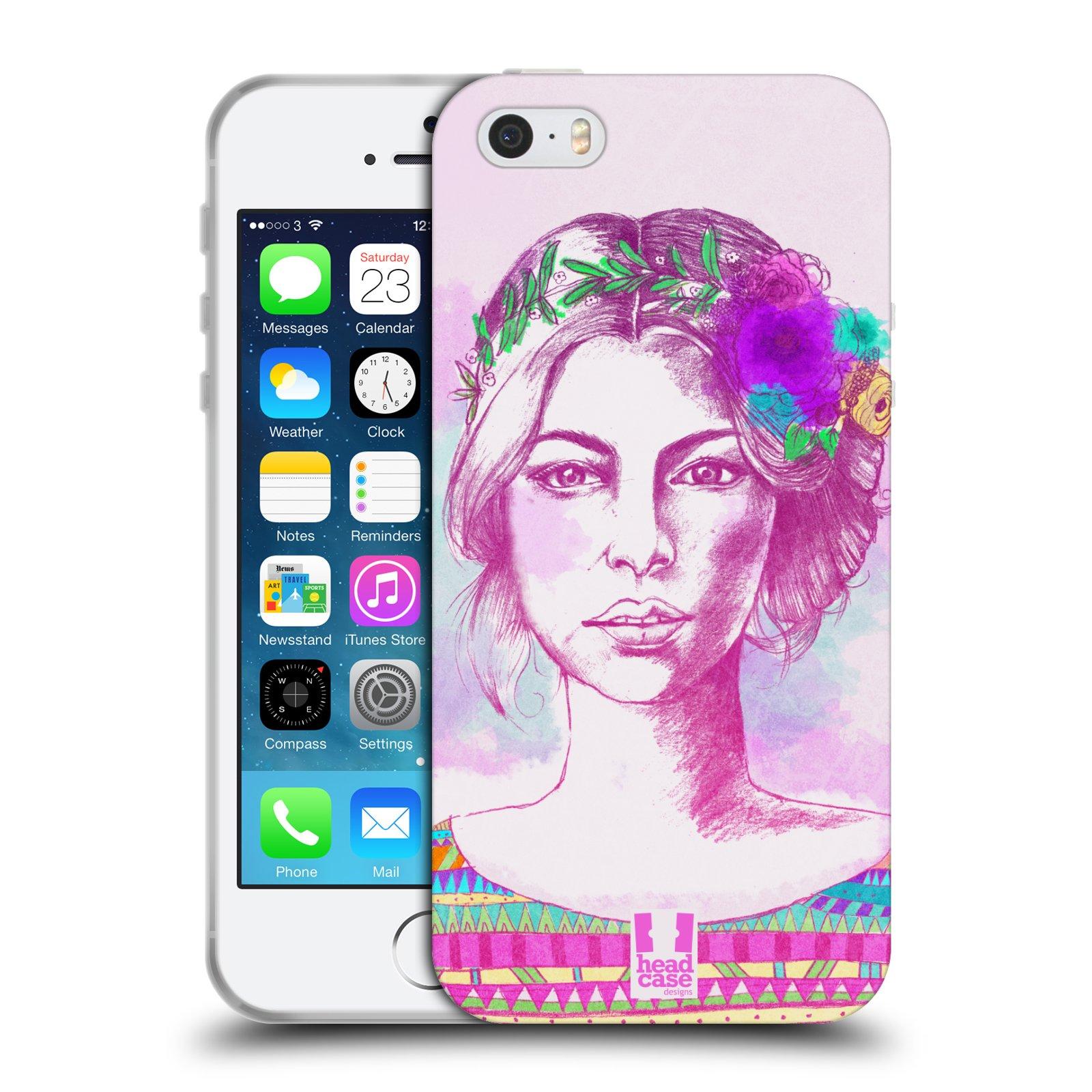 HEAD CASE silikonový obal na mobil Apple Iphone 5/5S vzor Dívka krátké vlasy růžová