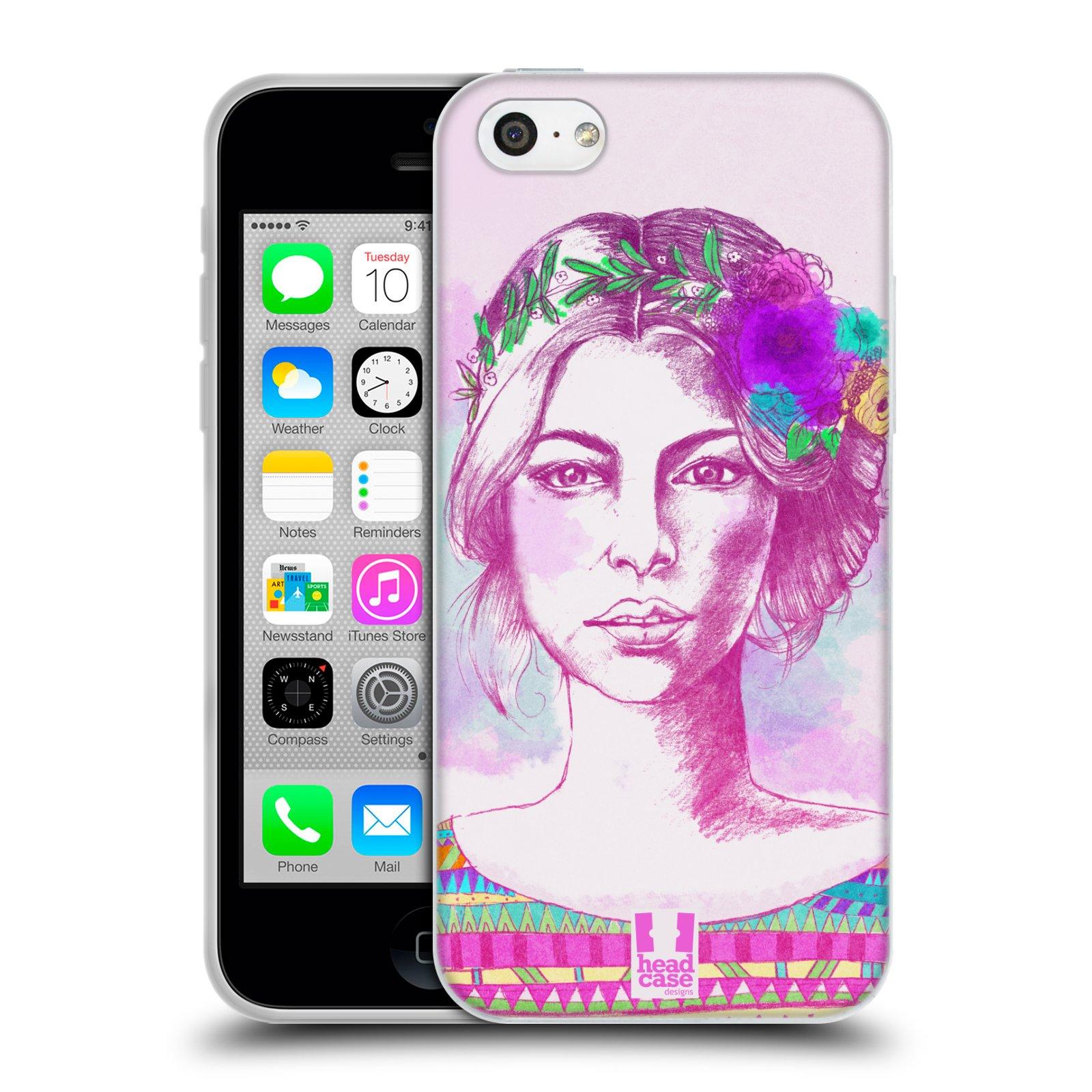 HEAD CASE silikonový obal na mobil Apple Iphone 5C vzor Dívka krátké vlasy růžová