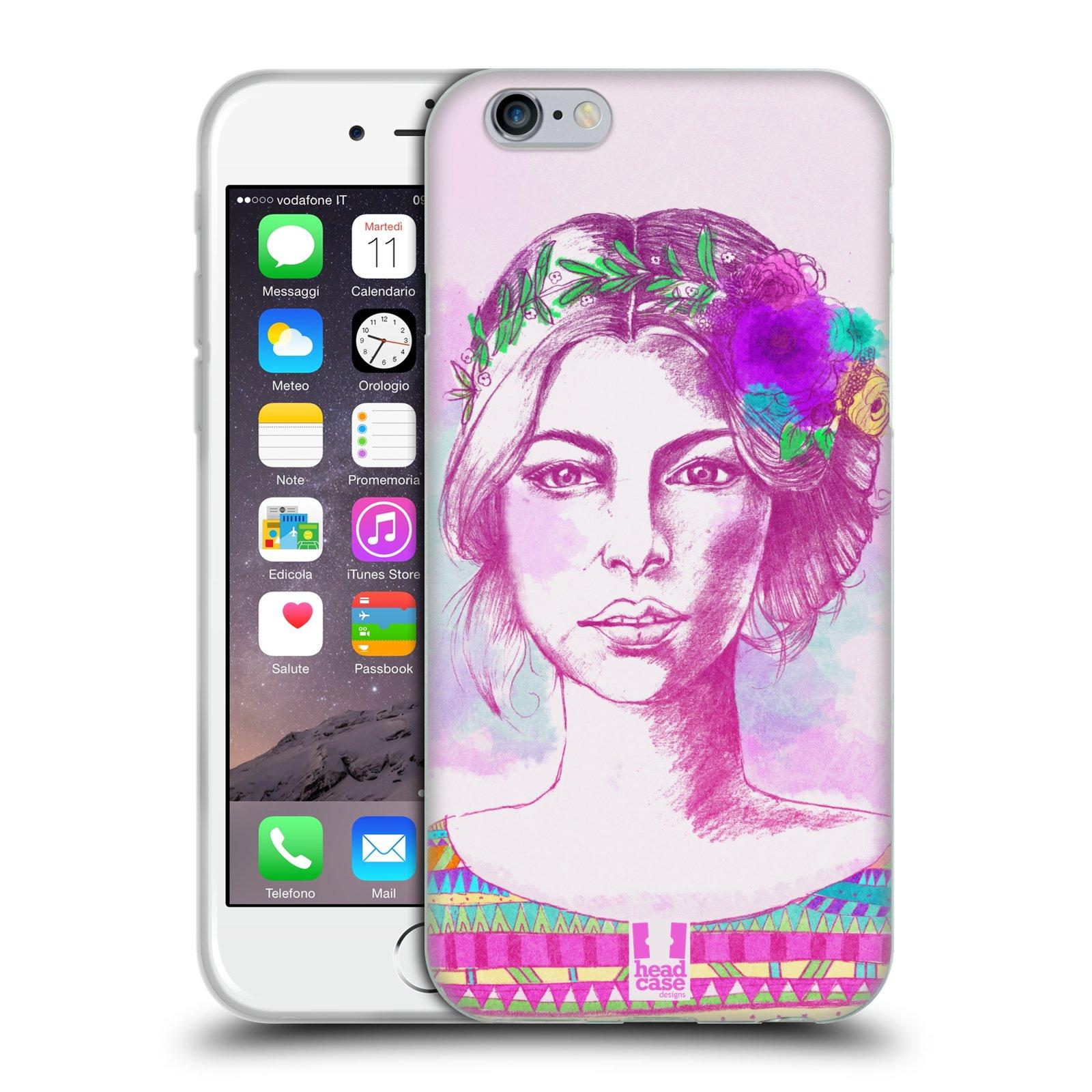 HEAD CASE silikonový obal na mobil Apple Iphone 6/6S vzor Dívka krátké vlasy růžová