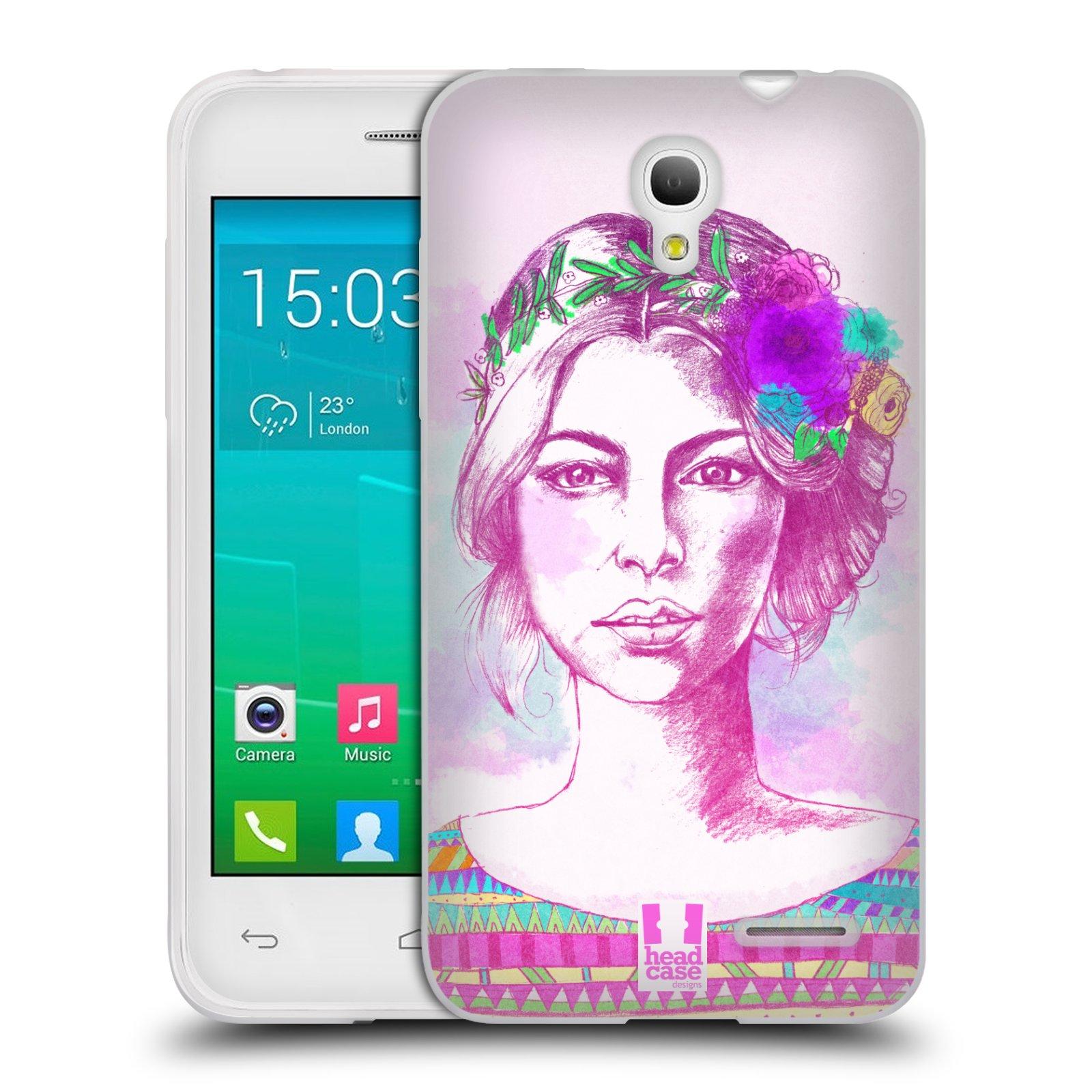 HEAD CASE silikonový obal na mobil Alcatel POP S3 OT-5050Y vzor Dívka krátké vlasy růžová