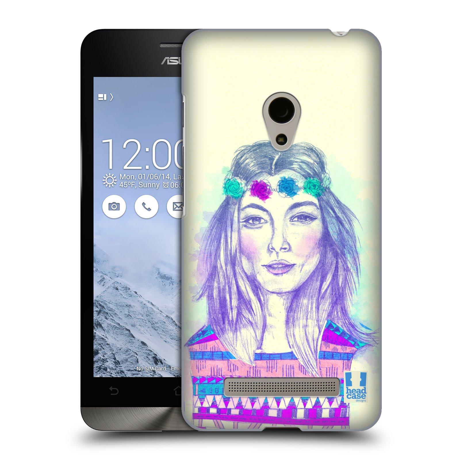 HEAD CASE plastový obal na mobil Asus Zenfone 5 vzor Dívka dlouhé květinové vlasy HIPPIE modrá