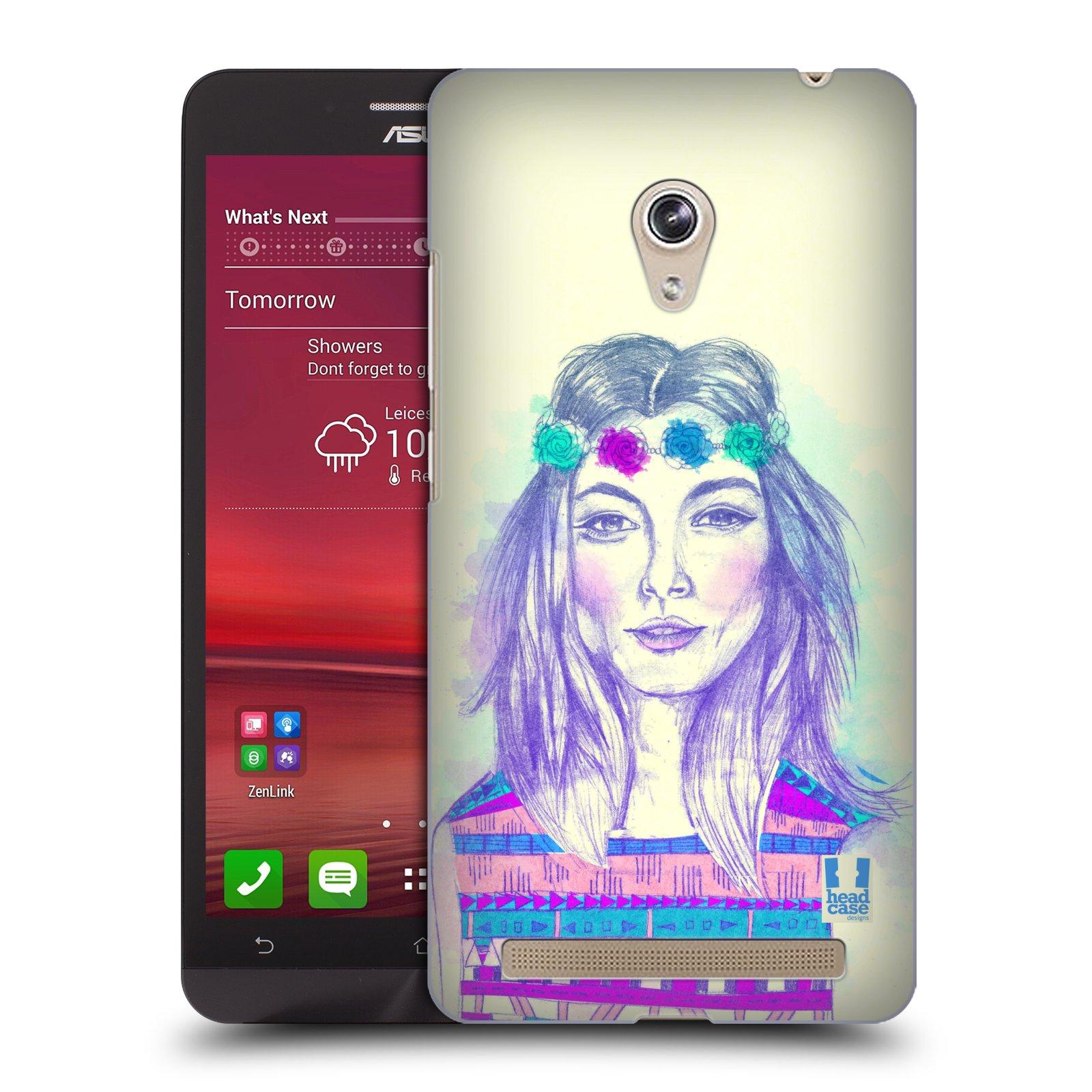 HEAD CASE plastový obal na mobil Asus Zenfone 6 vzor Dívka dlouhé květinové vlasy HIPPIE modrá