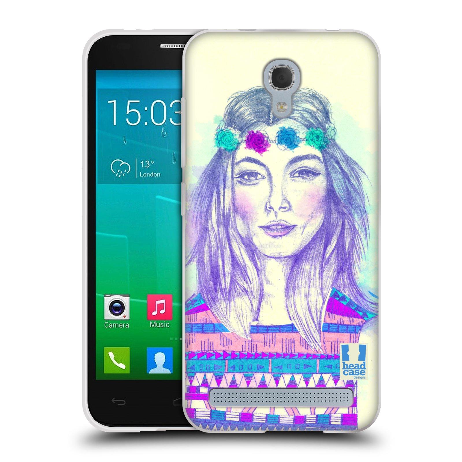 HEAD CASE silikonový obal na mobil Alcatel Idol 2 MINI S 6036Y vzor Dívka dlouhé květinové vlasy HIPPIE modrá