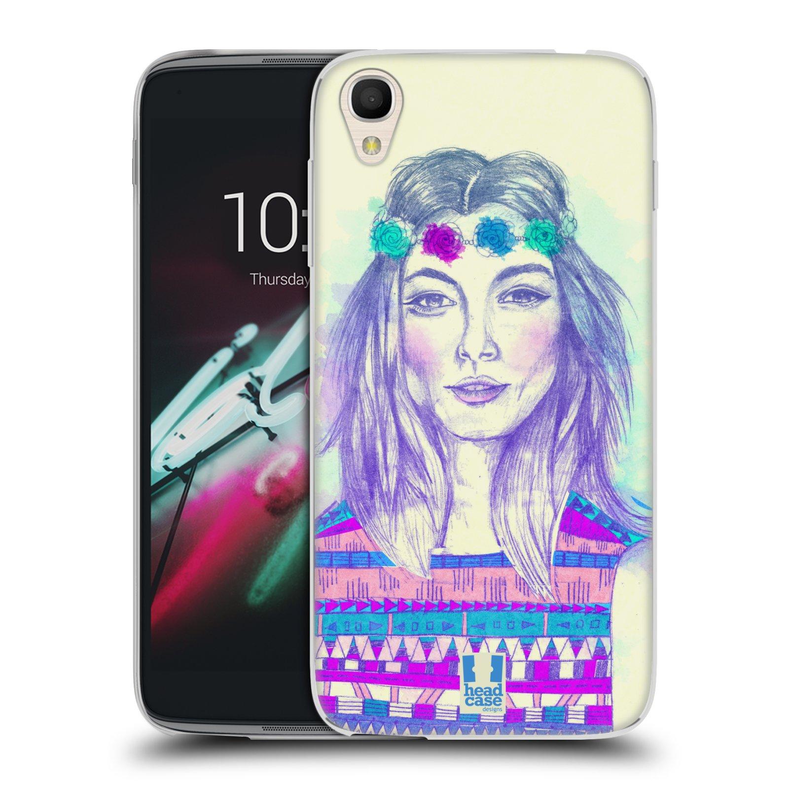 HEAD CASE silikonový obal na mobil Alcatel Idol 3 OT-6039Y (4.7) vzor Dívka dlouhé květinové vlasy HIPPIE modrá