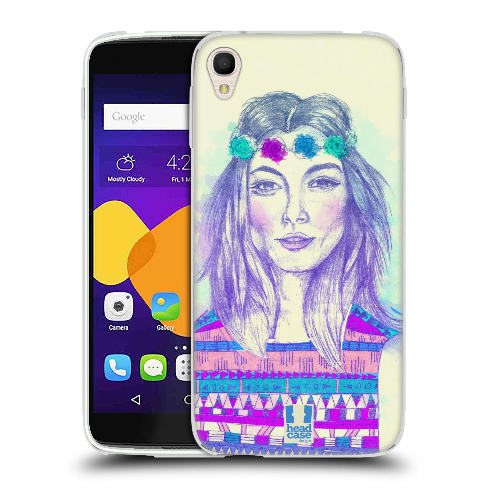 HEAD CASE silikonový obal na mobil Alcatel Idol 3 OT-6045Y (5.5) vzor Dívka dlouhé květinové vlasy HIPPIE modrá