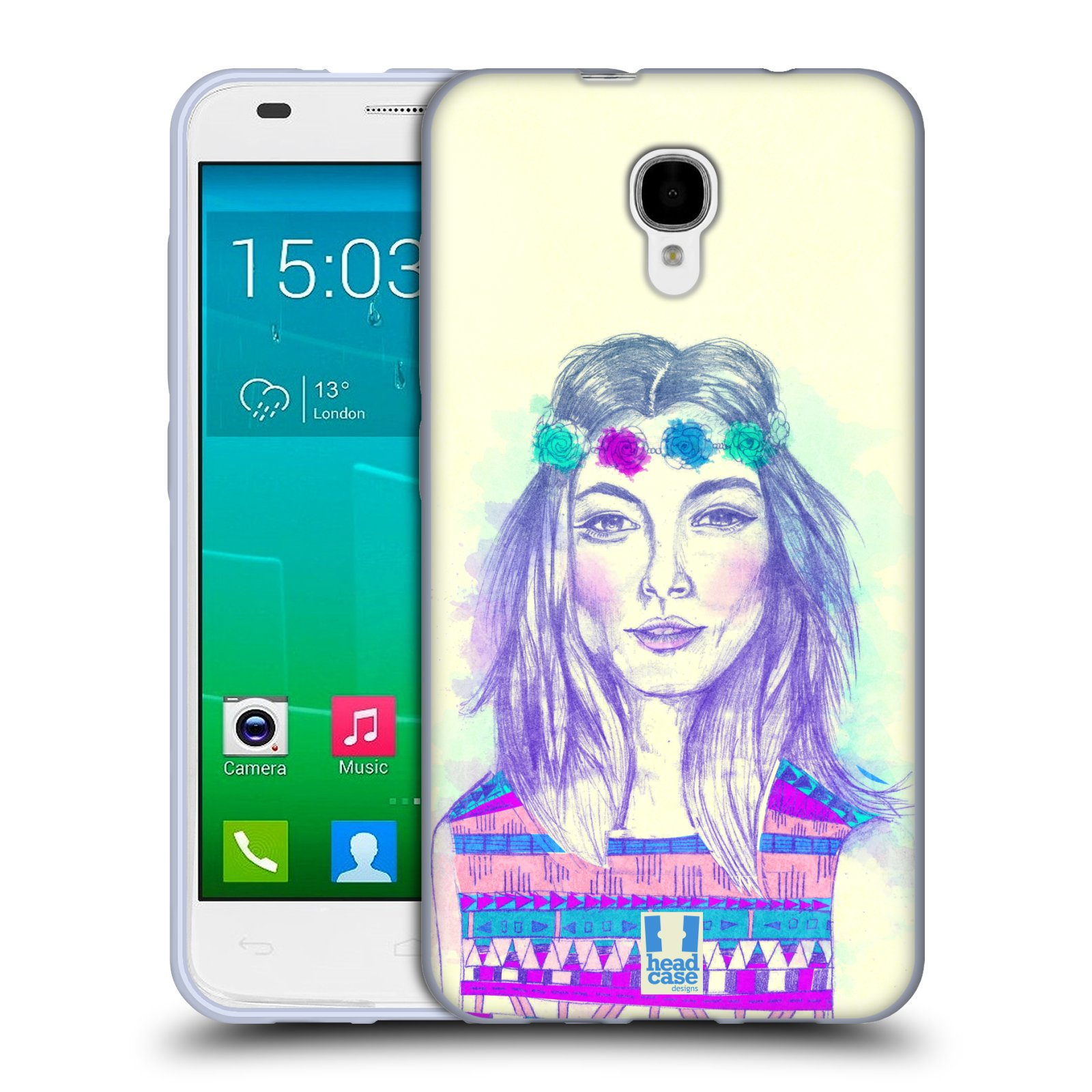 HEAD CASE silikonový obal na mobil Alcatel Idol 2 S OT-6050 vzor Dívka dlouhé květinové vlasy HIPPIE modrá