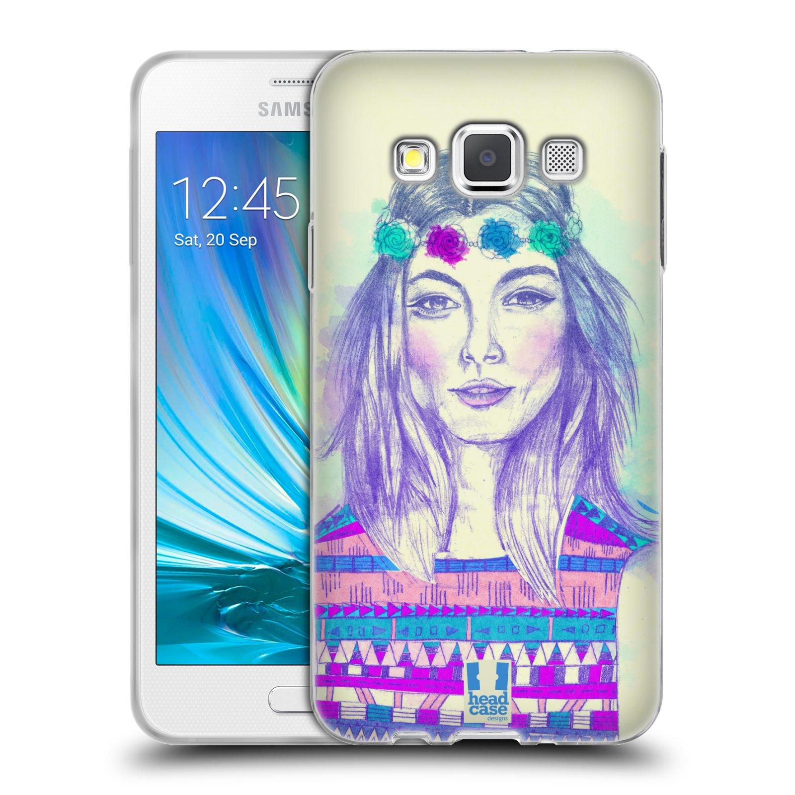 HEAD CASE silikonový obal na mobil Samsung Galaxy A3 vzor Dívka dlouhé květinové vlasy HIPPIE modrá