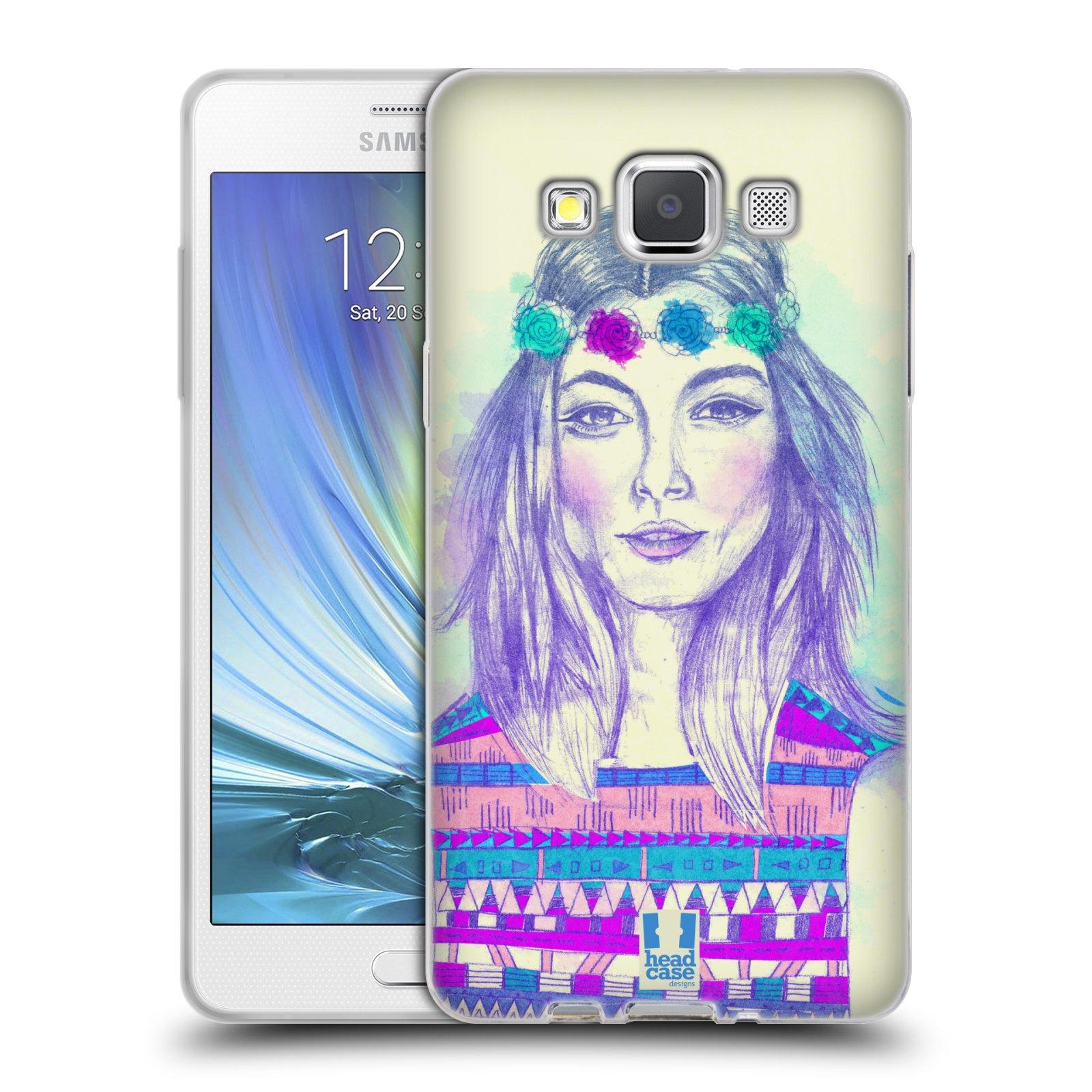 HEAD CASE silikonový obal na mobil Samsung Galaxy A5 vzor Dívka dlouhé květinové vlasy HIPPIE modrá