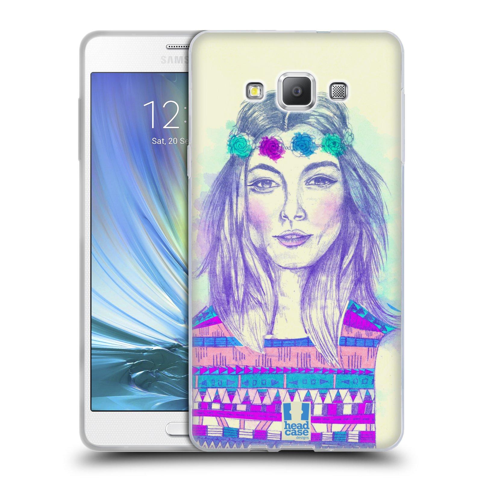 HEAD CASE silikonový obal na mobil Samsung Galaxy A7 vzor Dívka dlouhé květinové vlasy HIPPIE modrá