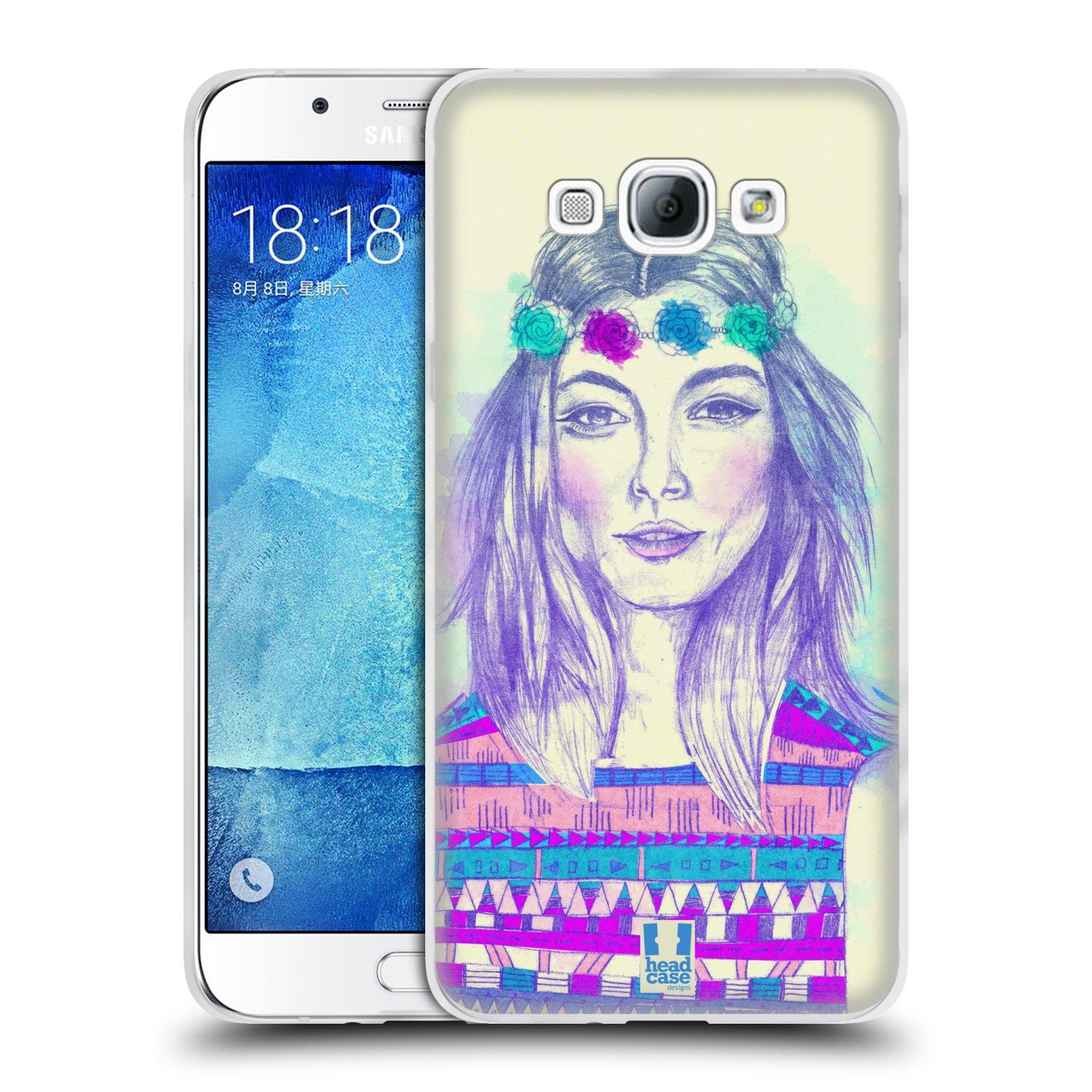 HEAD CASE silikonový obal na mobil Samsung Galaxy A8 vzor Dívka dlouhé květinové vlasy HIPPIE modrá