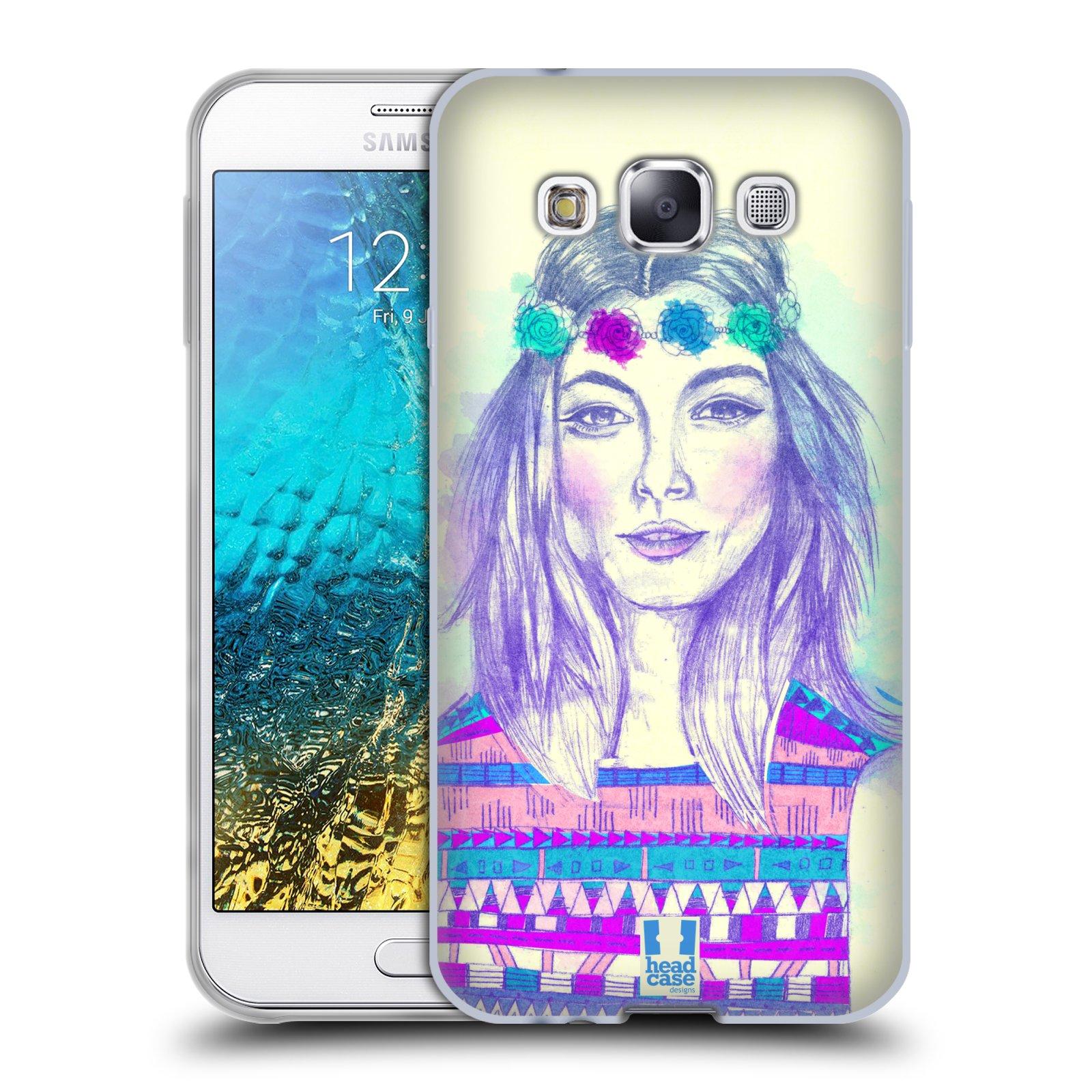 HEAD CASE silikonový obal na mobil Samsung Galaxy E5 vzor Dívka dlouhé květinové vlasy HIPPIE modrá